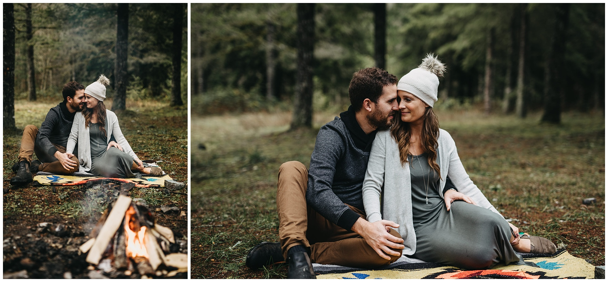 couple parents family photos chilliwack forest campfire blanket