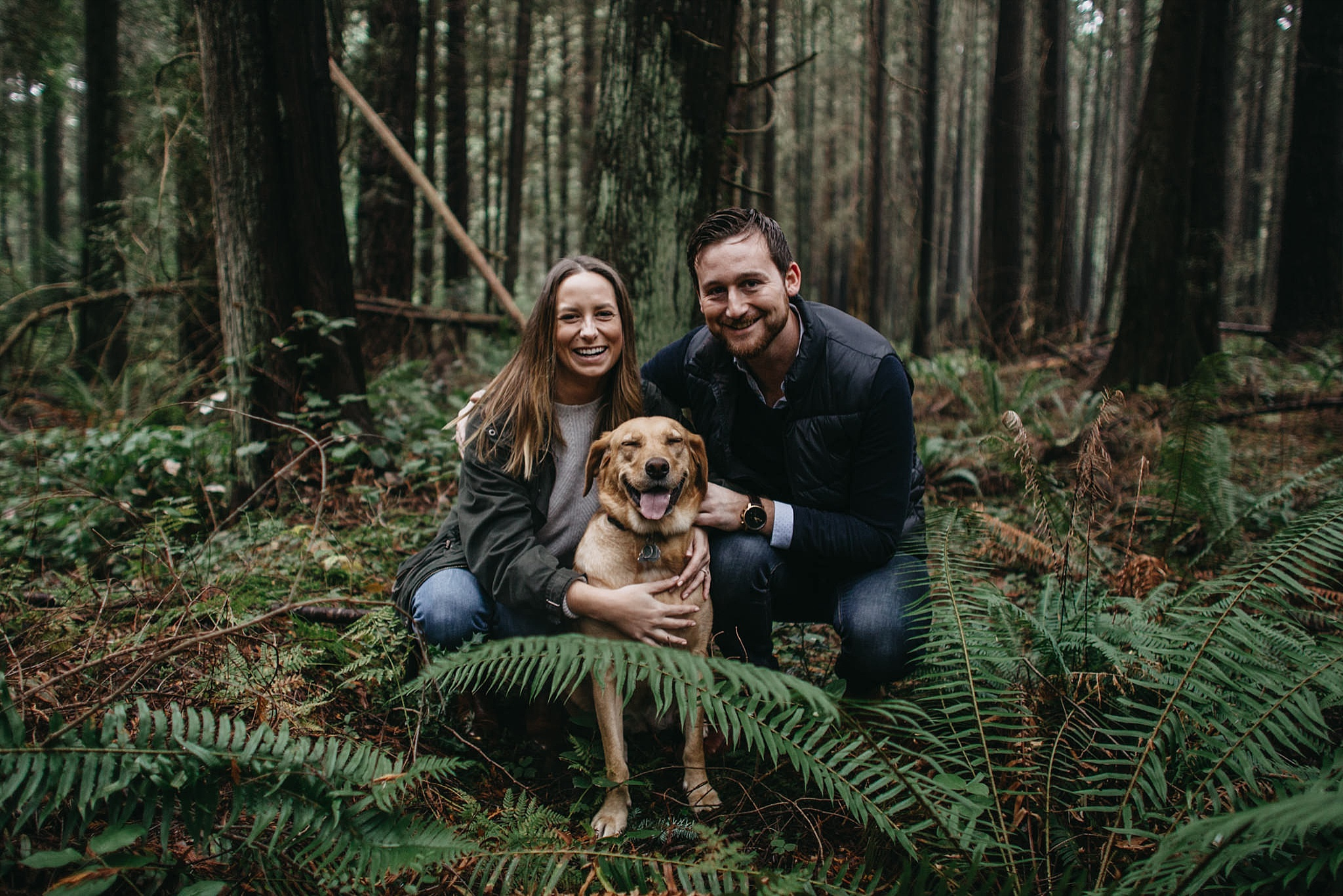 couple and dog engagement photos pacific spirit park forest