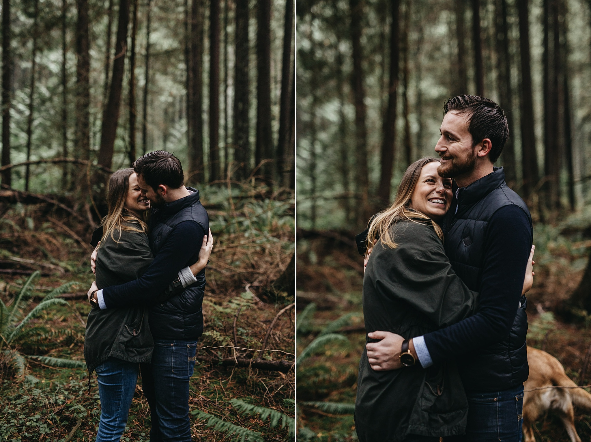 couple arms around each other engagement pacific spirit park forest