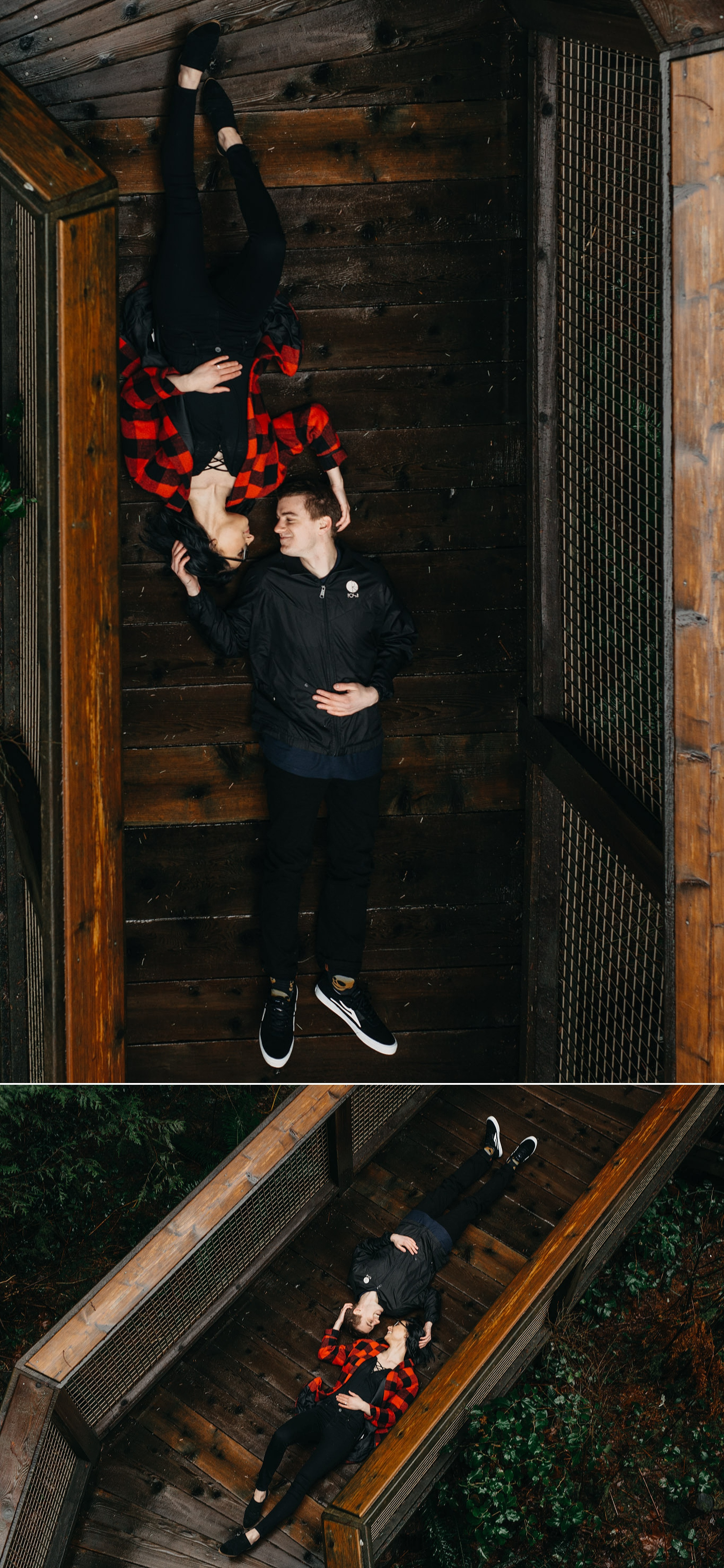 couple lying down on nature walk capilano suspension bridge engagement photos