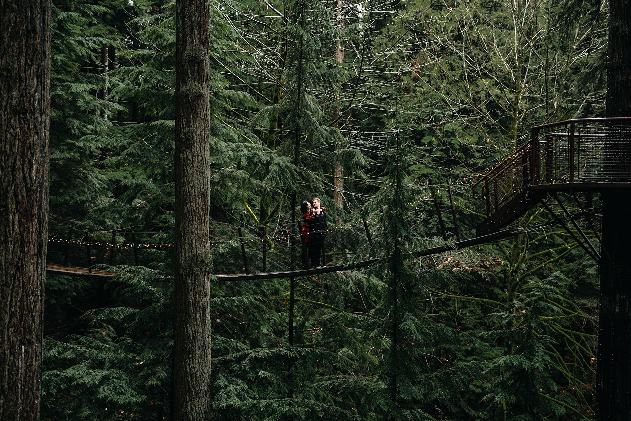 couple tiny people on bridge far away photo engagement capilano suspension bridge