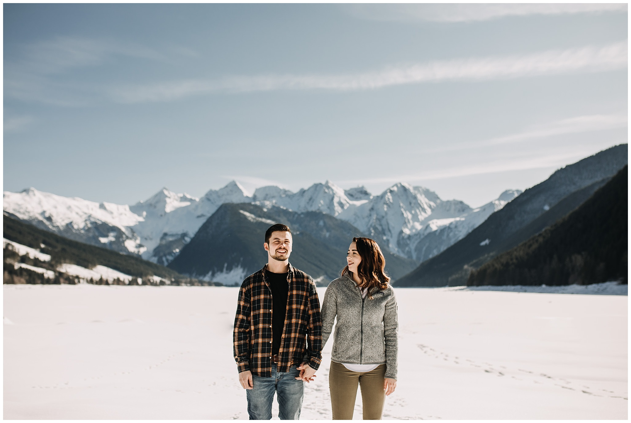 couple engagement session at jones lake chilliwack bc snow mountains