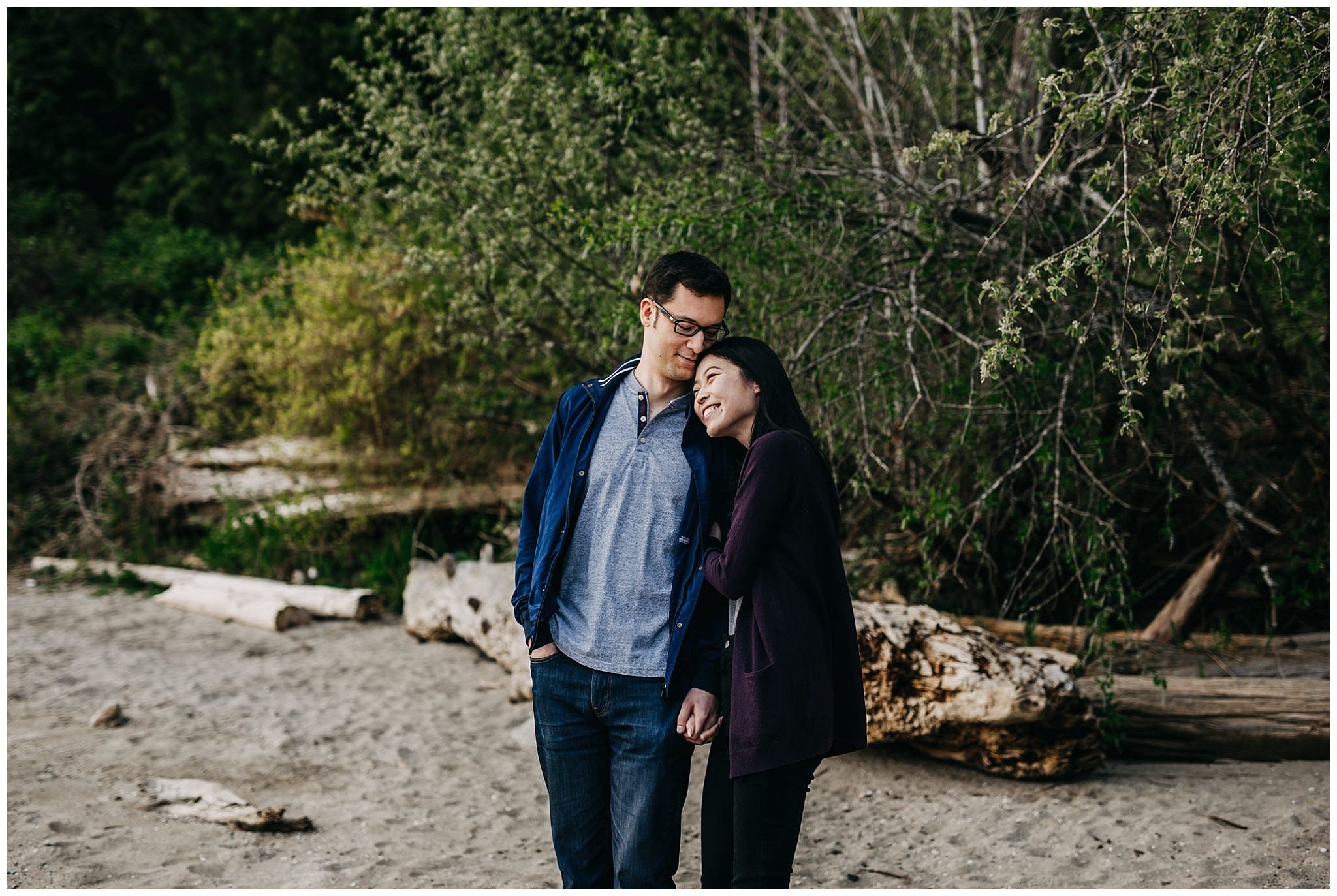 north vancouver cates park sunset engagement session