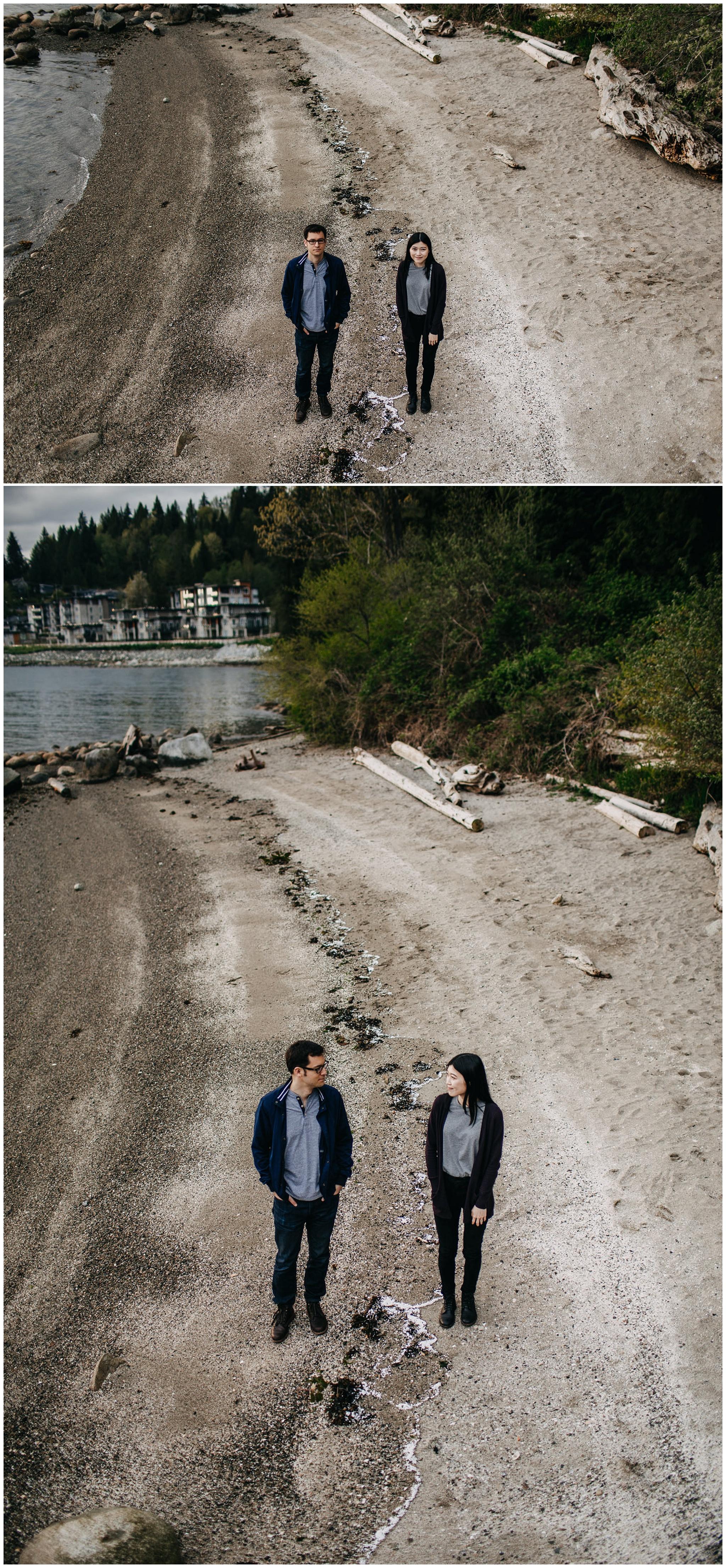couple sand beach sunset north vancouver engagement photos