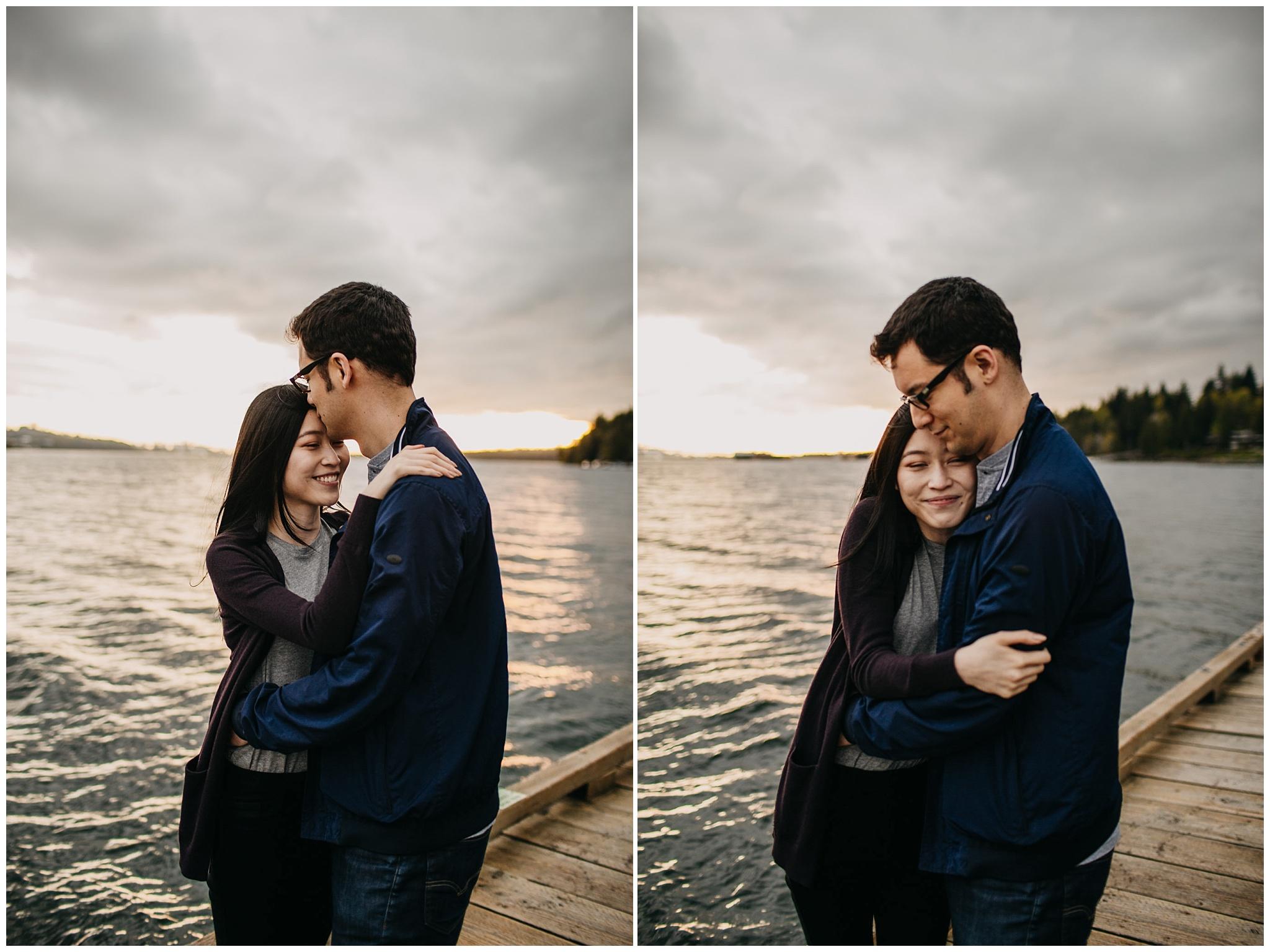 sunset cates park north vancouver engagement couple kiss hug