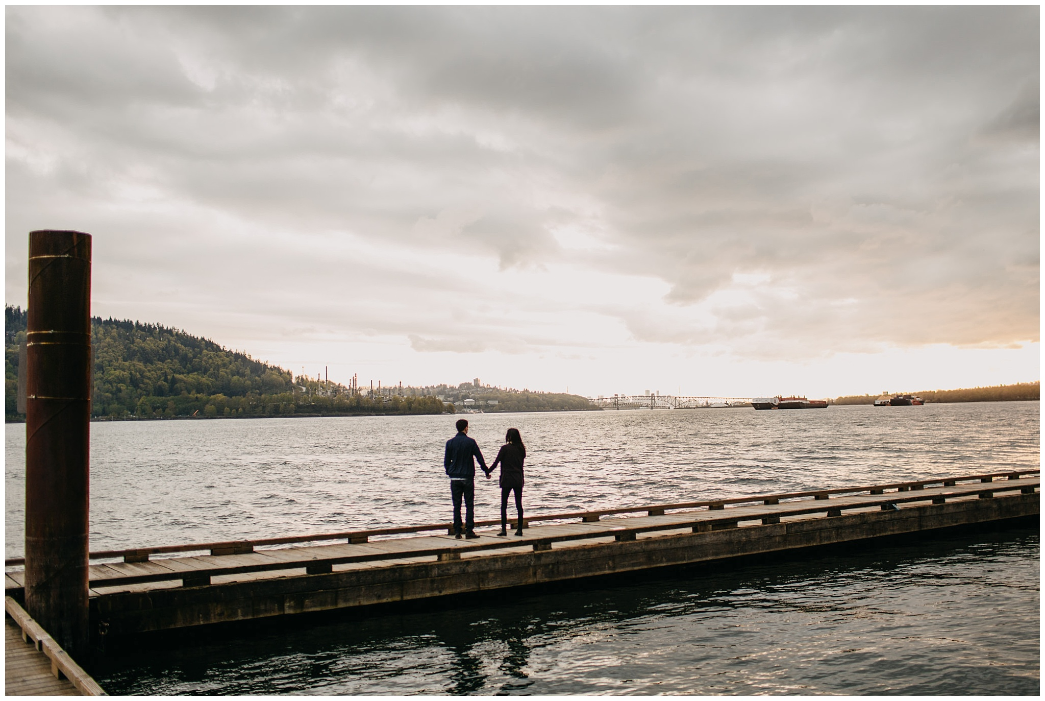couple silhouette engagement session north vancouver sunset