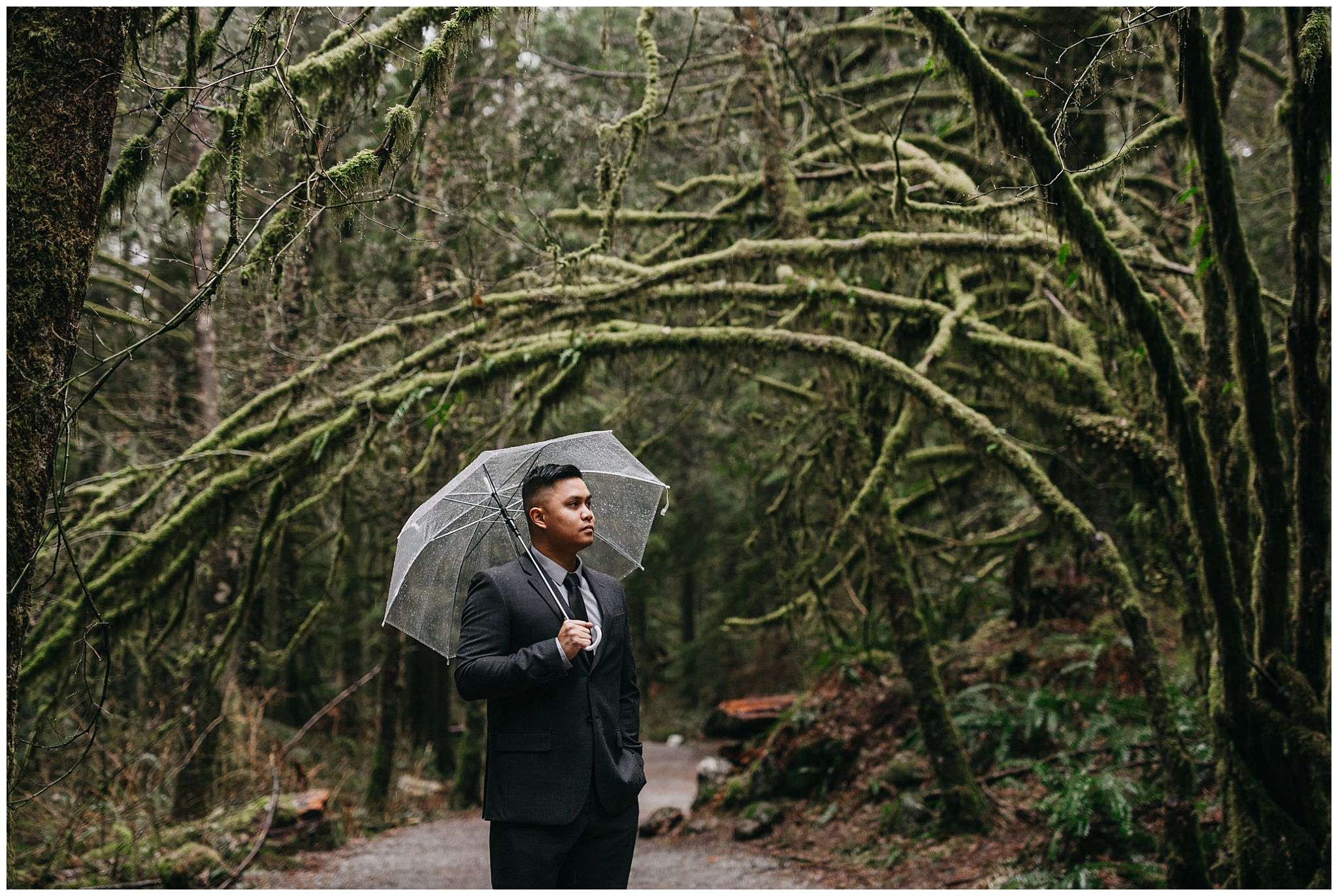 groom rain forest golden ears first look intimate wedding
