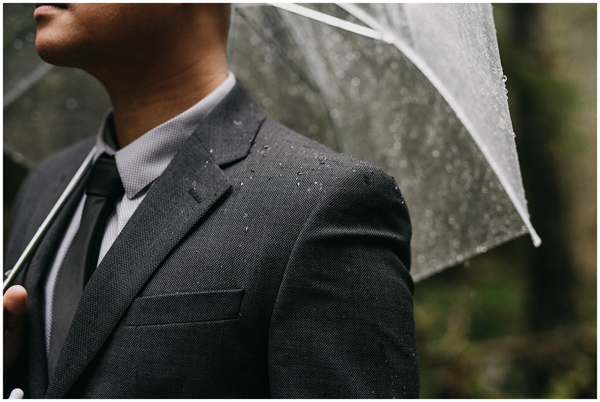 rain groom's suit pnw intimate wedding golden ears forest