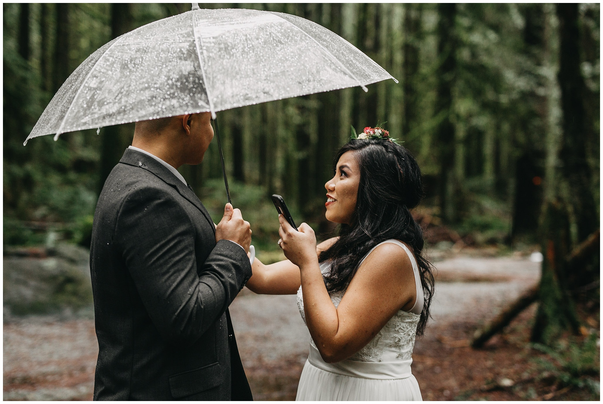 bride reading vows to groom rainy day intimate wedding