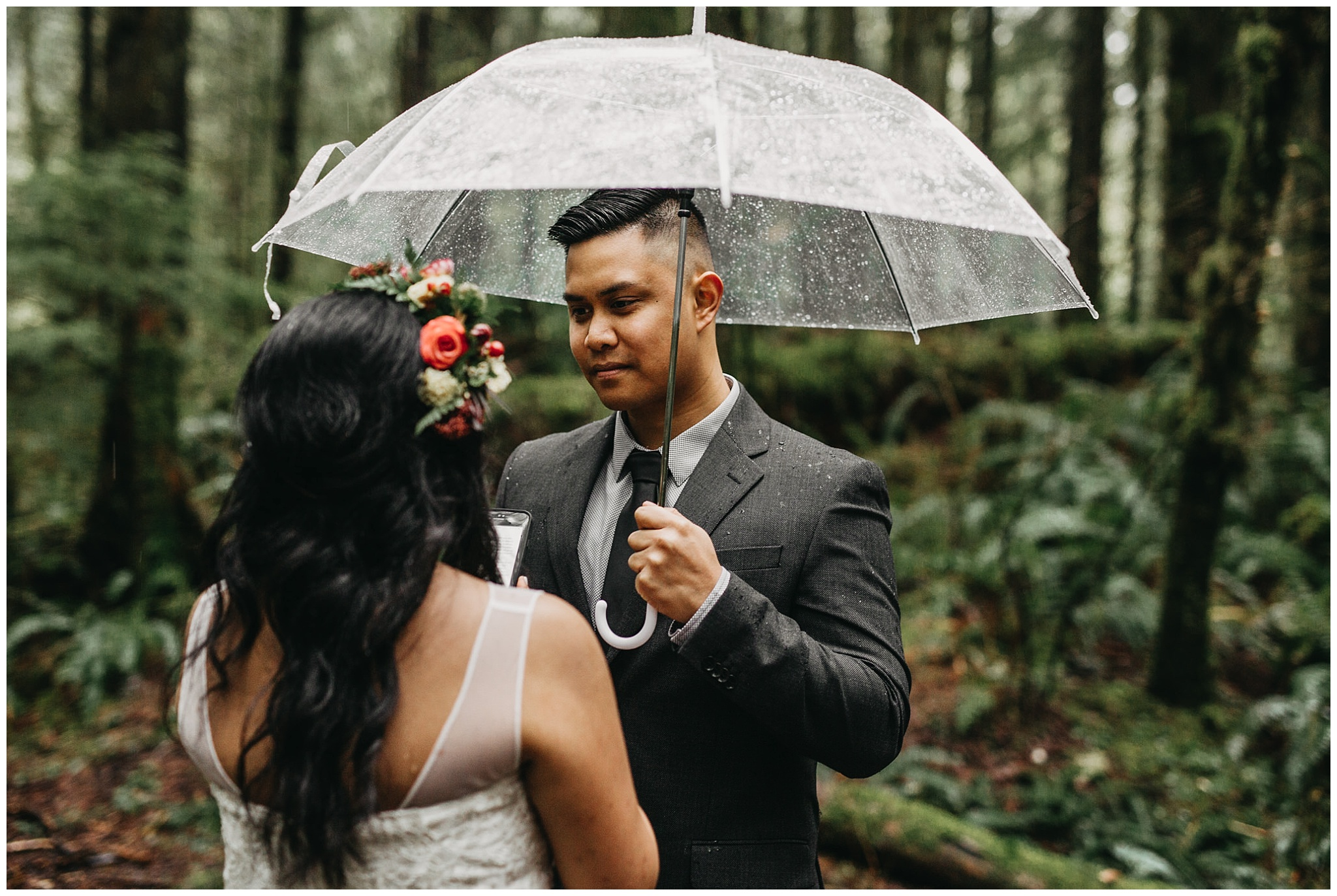 groom's reaction to bride's vows rainy forest intimate wedding golden ears