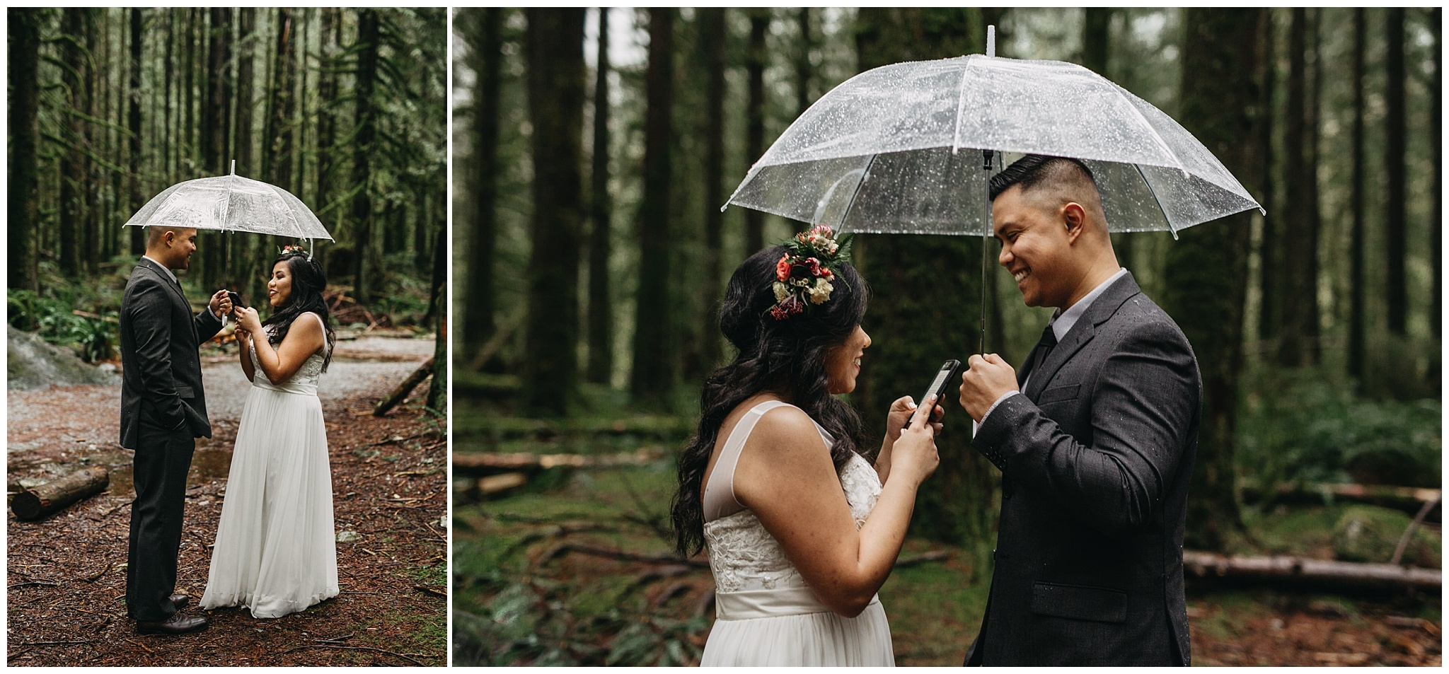 bride groom private vow reading in rainy forest intimate golden ears wedding