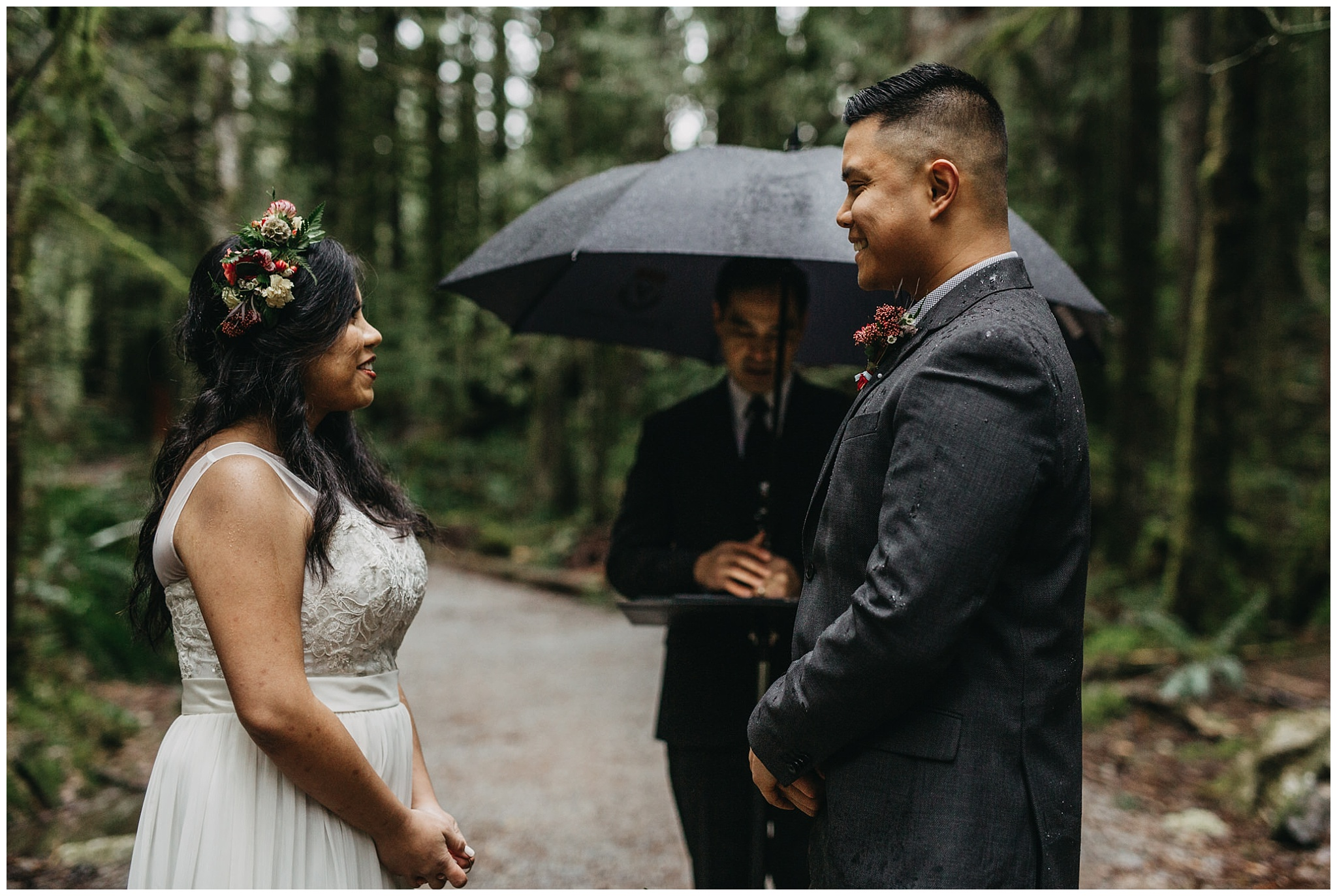 bride groom during ceremony smile happy intimate forest wedding