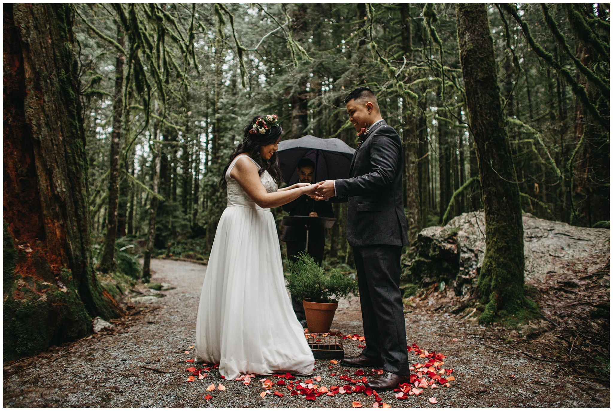 wedding couple forest ceremony mossy rainy pnw golden ears