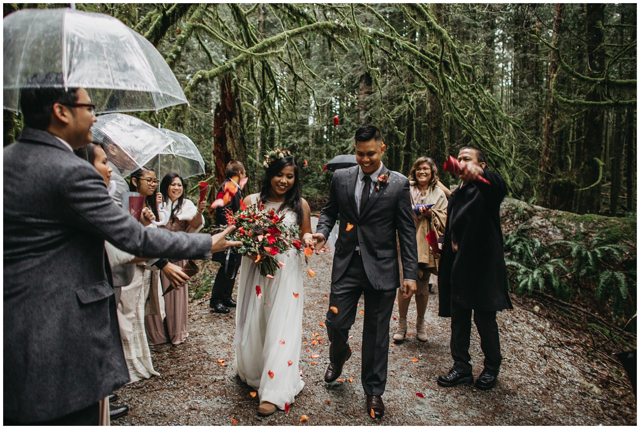 wedding couple ceremony exit intimate forest wedding golden ears park