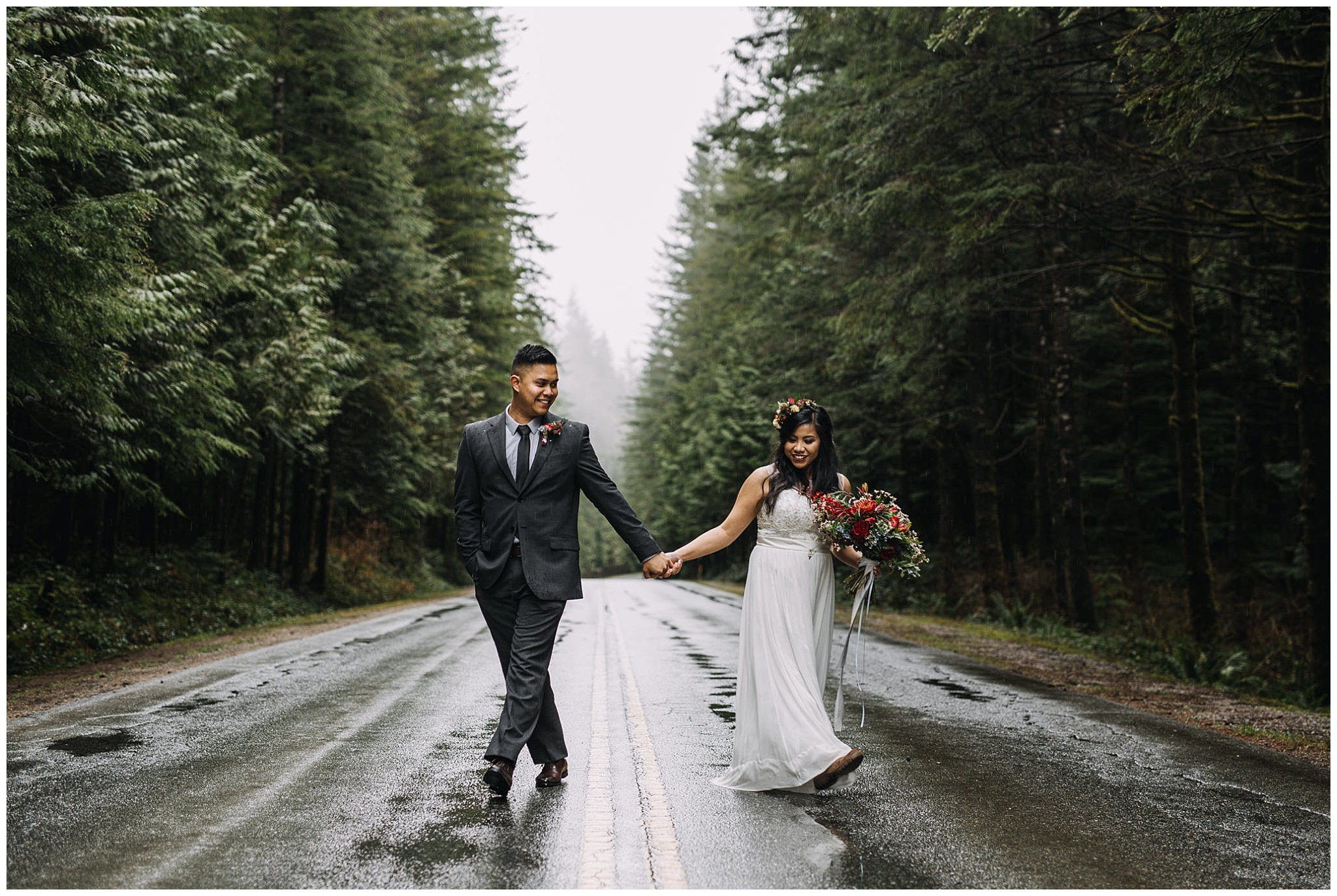 bride groom portrait golden ears tree lined roads intimate wedding