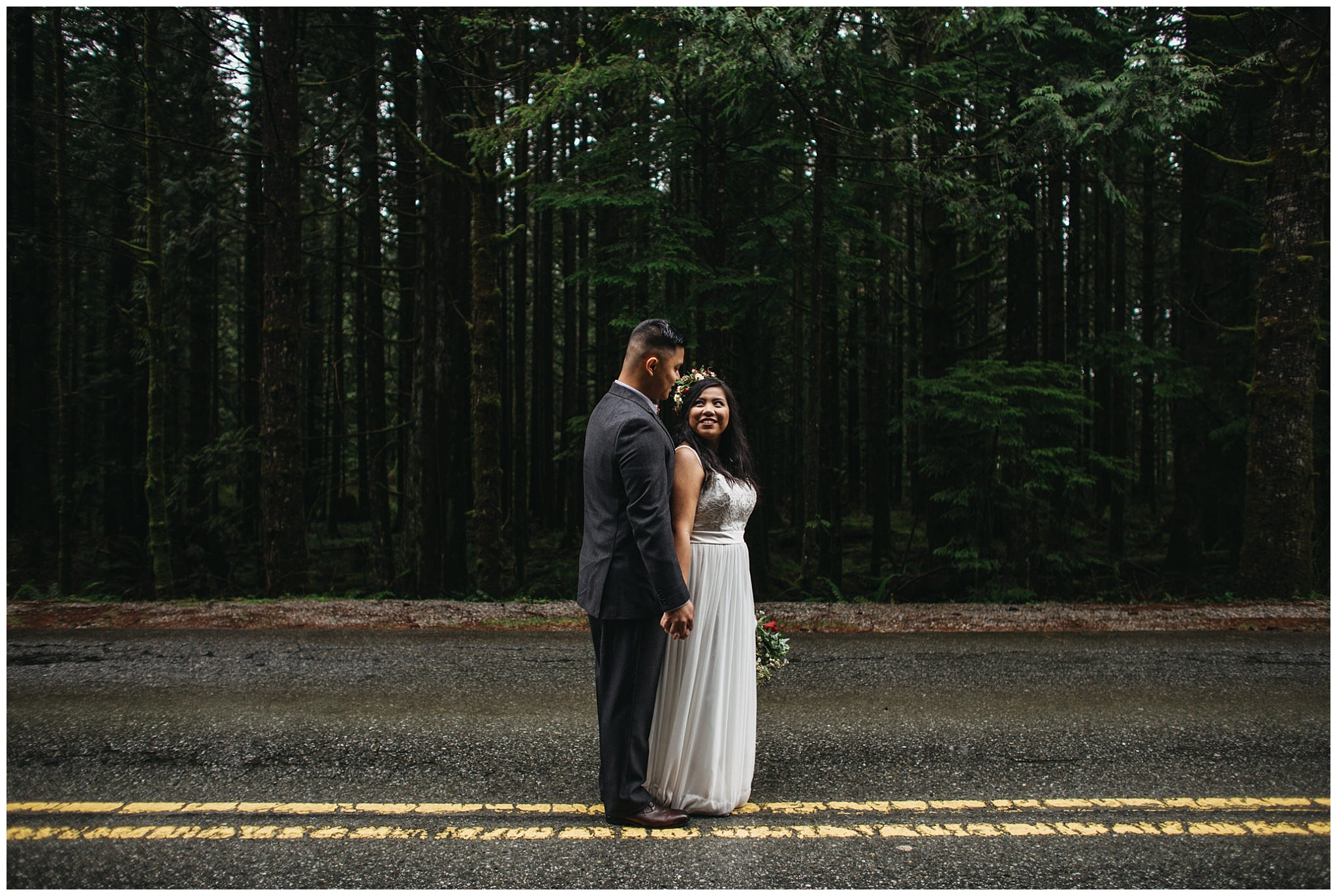 bride groom portrait on road trees forest intimate golden ears wedding
