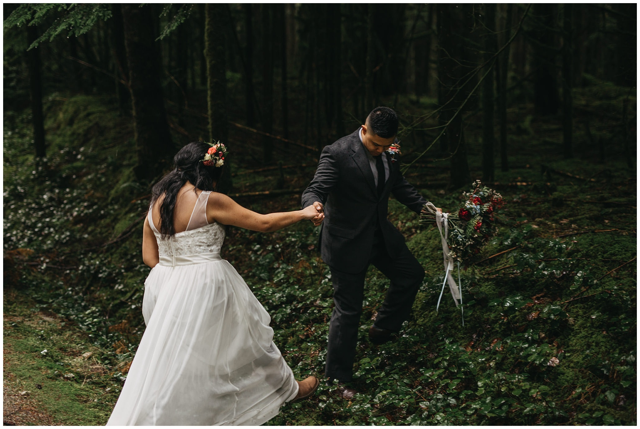 groom helping bride forest bouquet golden ears park intimate wedding
