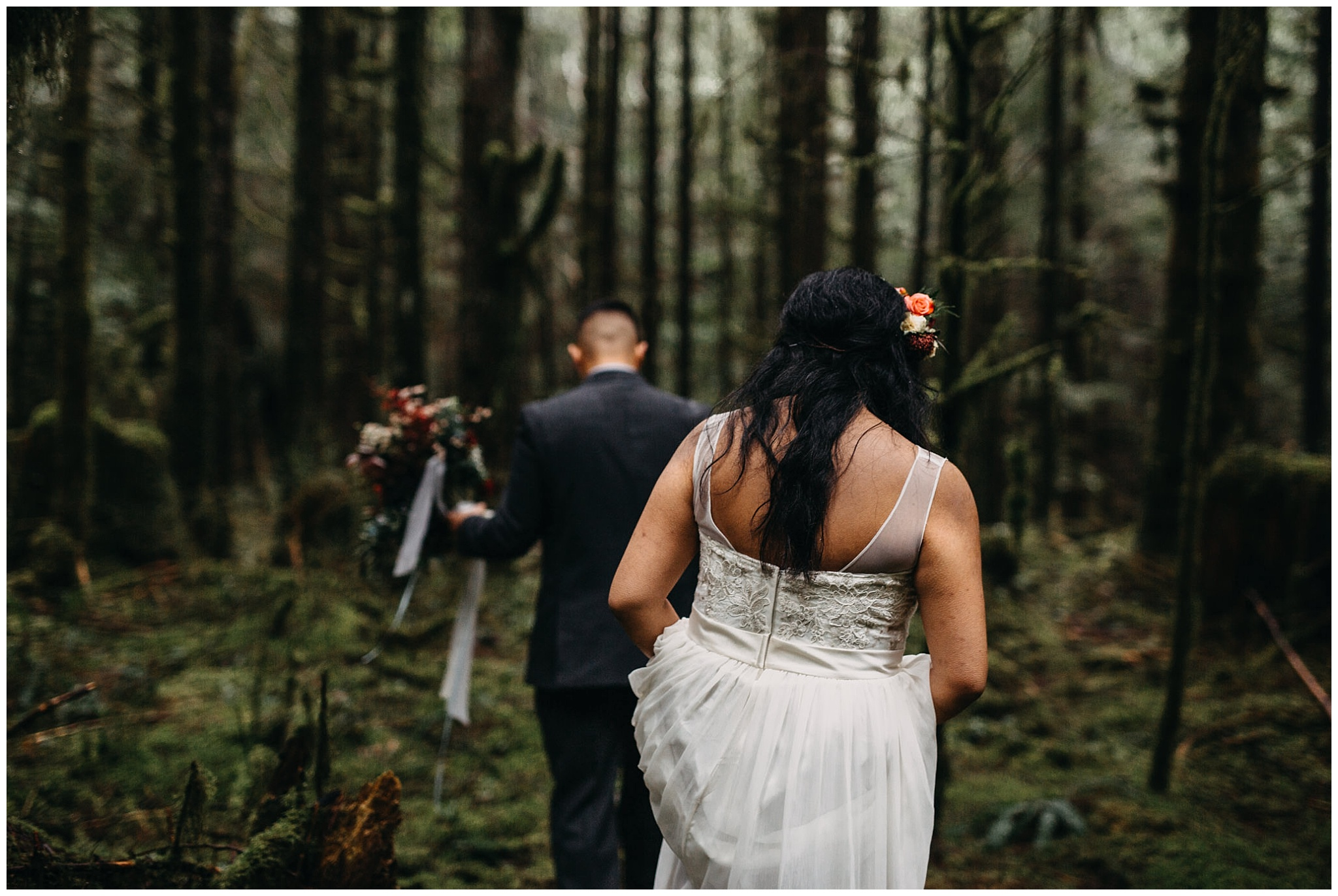 bride groom exploring forest moss rain intimate wedding golden ears