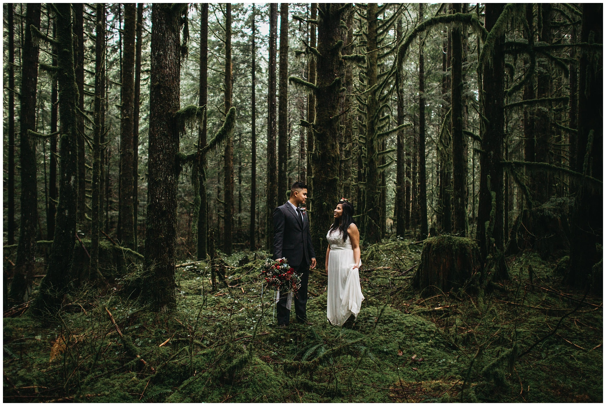 bride groom portrait standing in mossy forest golden ears wedding