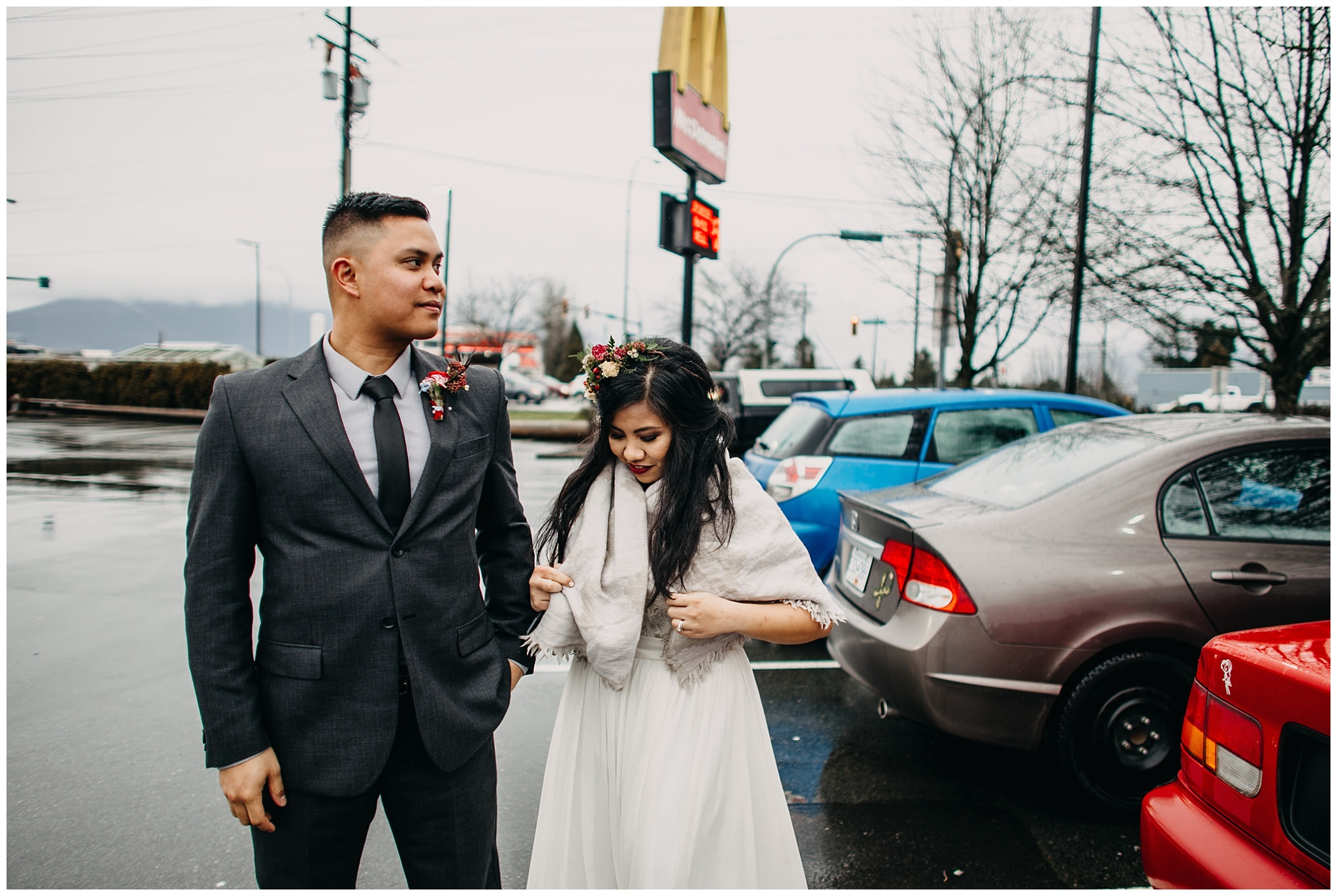 bride groom wedding couple mcdonalds run pit stop vancouver wedding