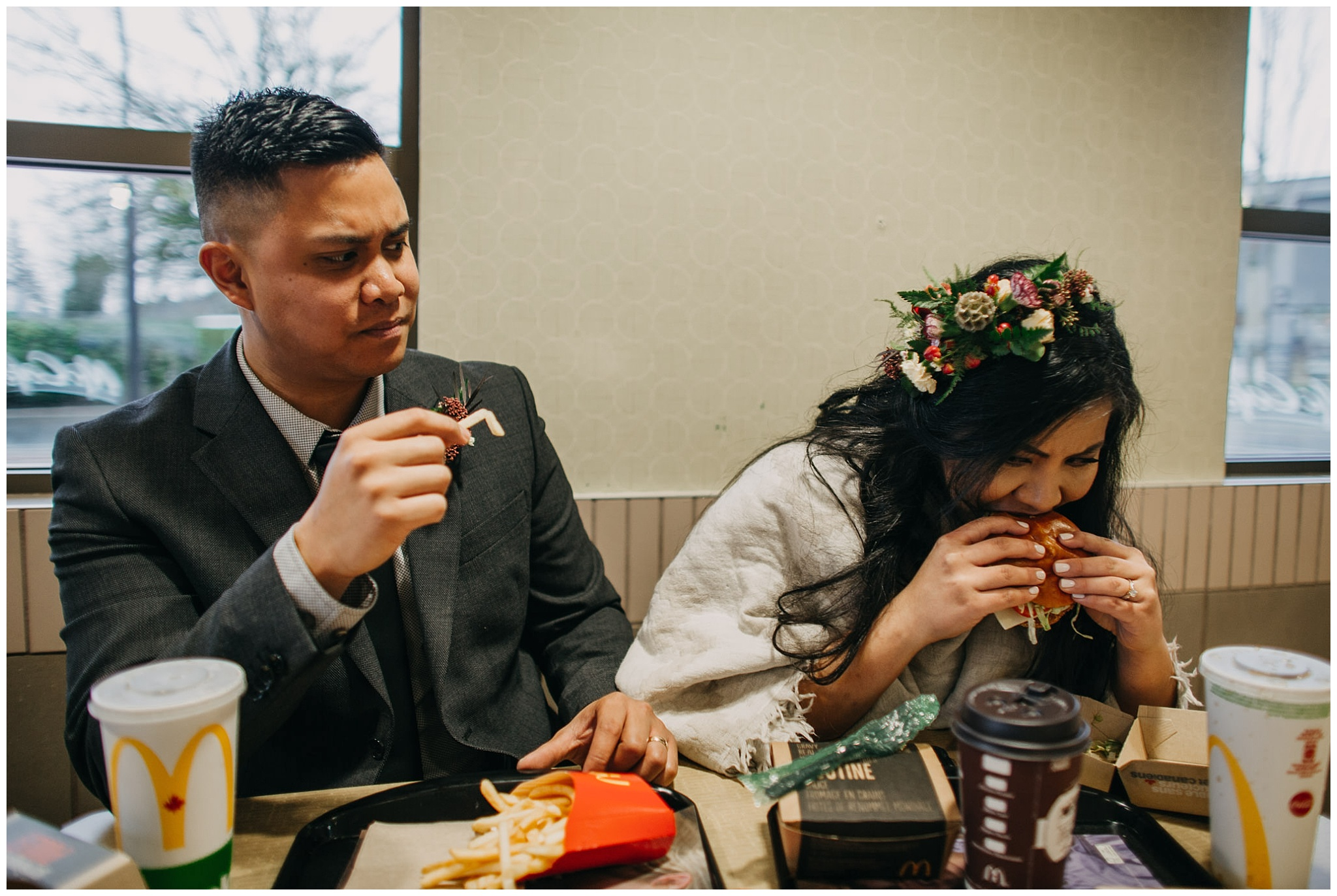 bride groom eating mcdonalds on wedding day vancouver wedding