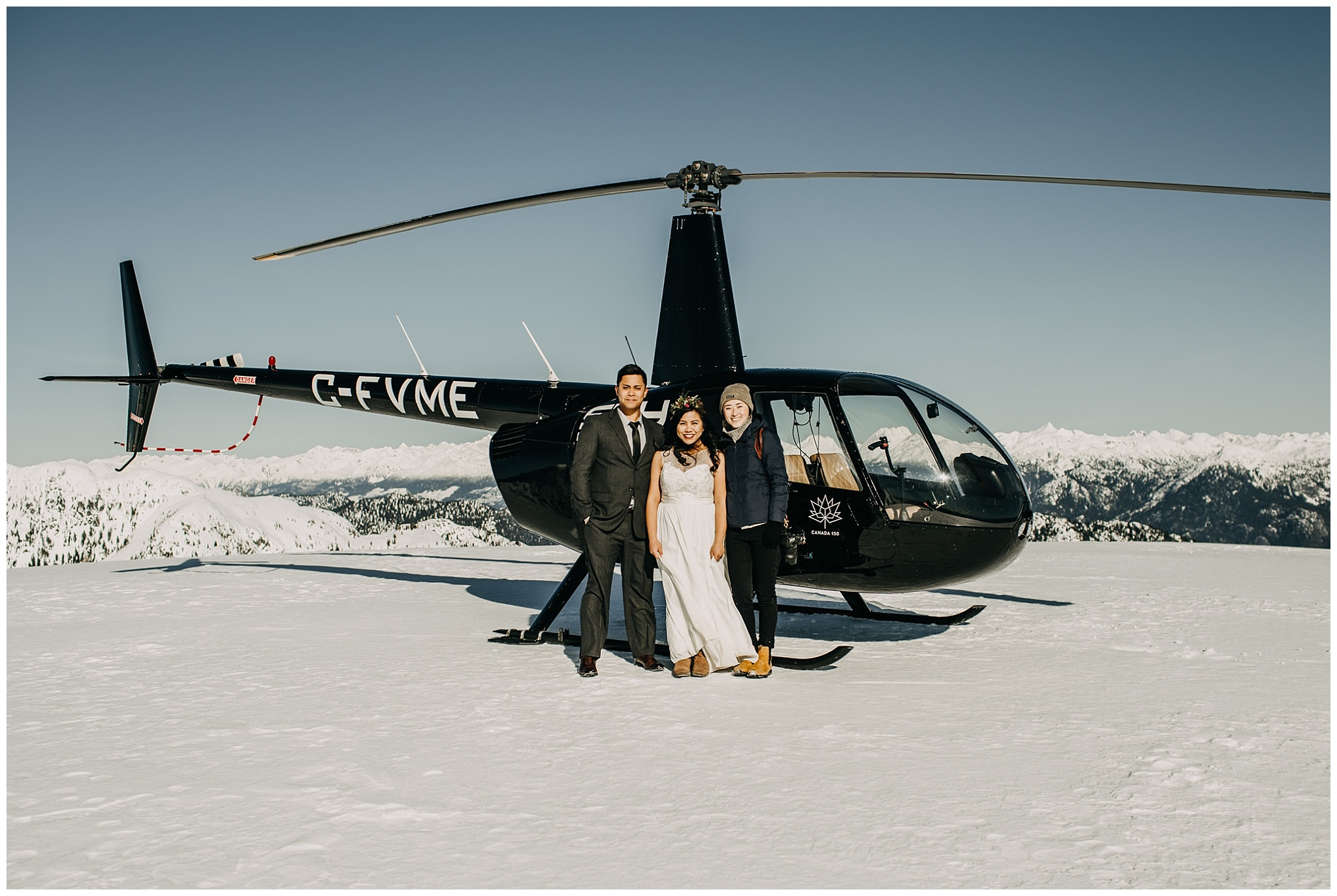 sky helicopter bride groom photographer wedding day portraits