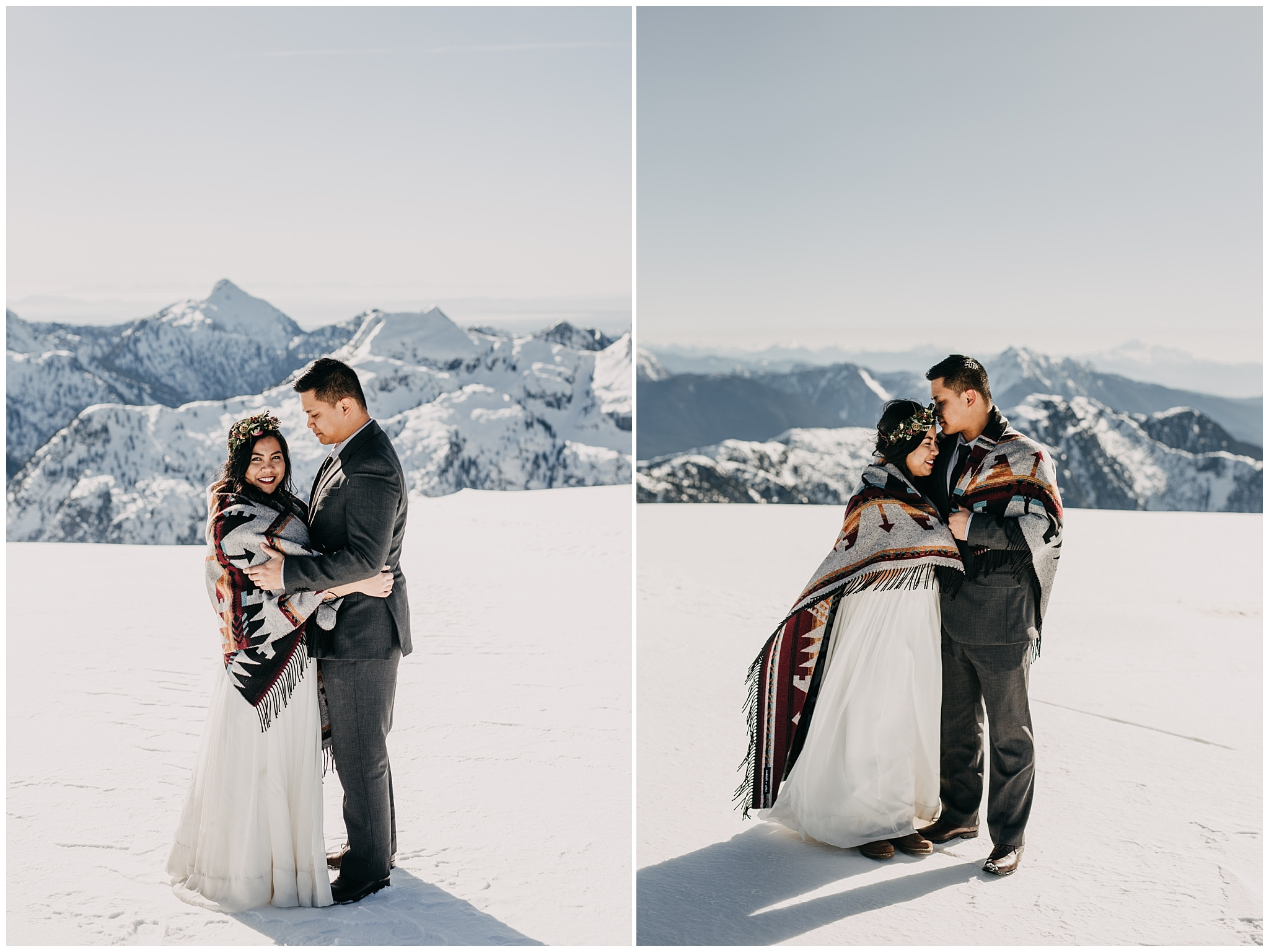 bride groom wedding couple portraits snowy mountaintop sky helicopters