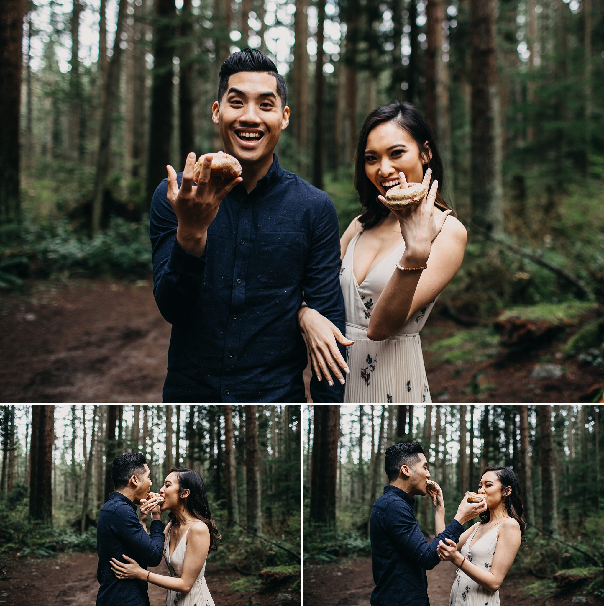 couple cartems donut rings engagement session vancouver pacific spirit park forest
