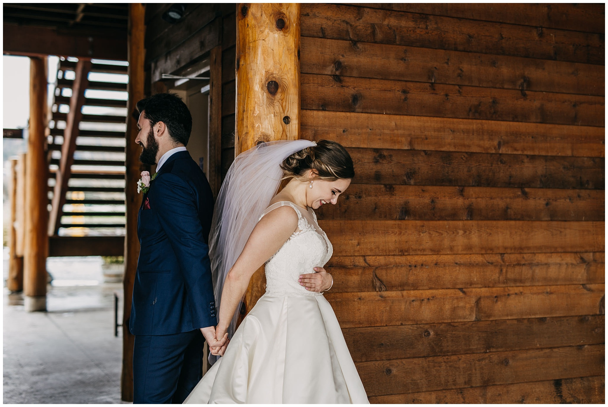 bride and groom first look at fraser river lodge