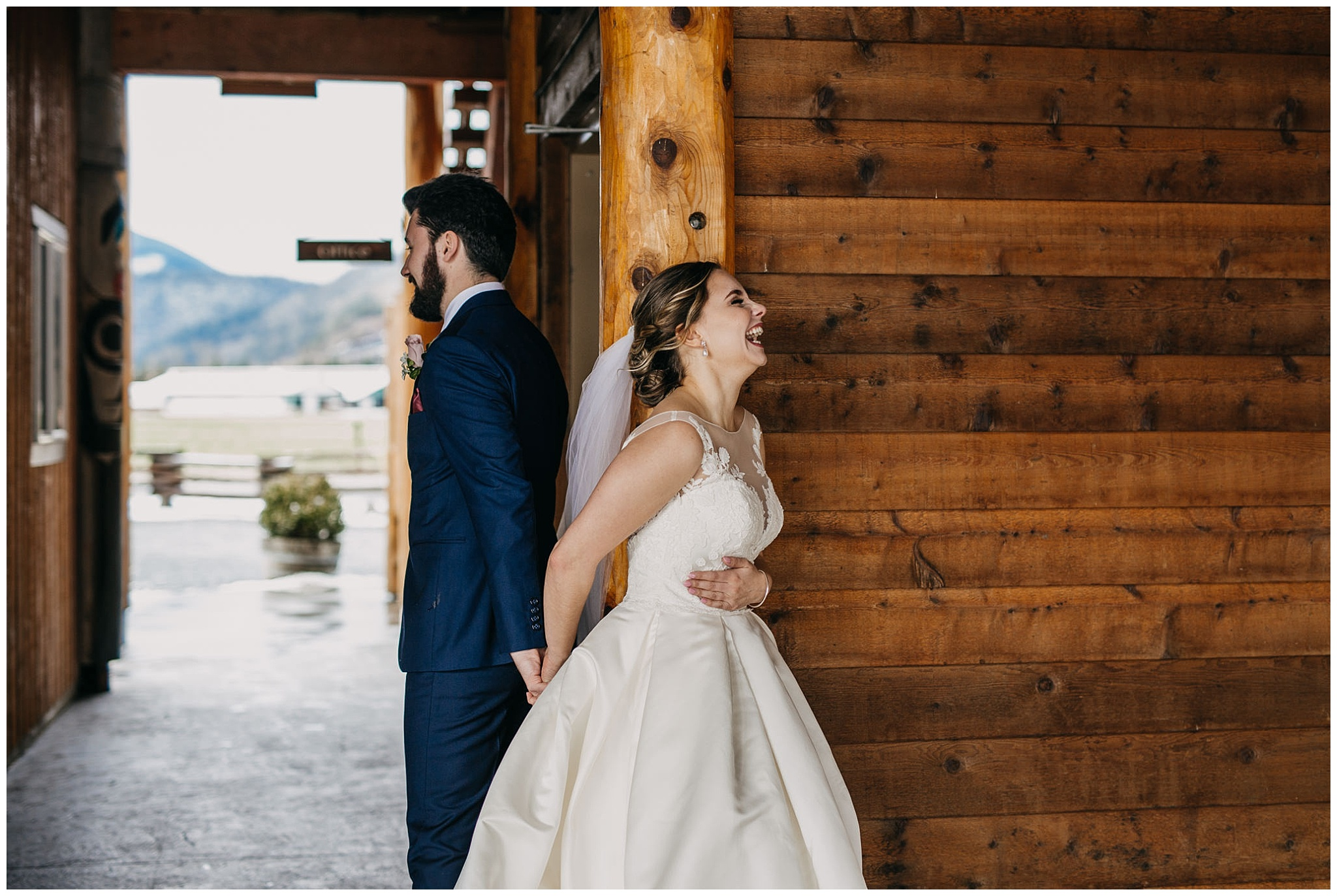 bride and groom first look at fraser river lodge wedding