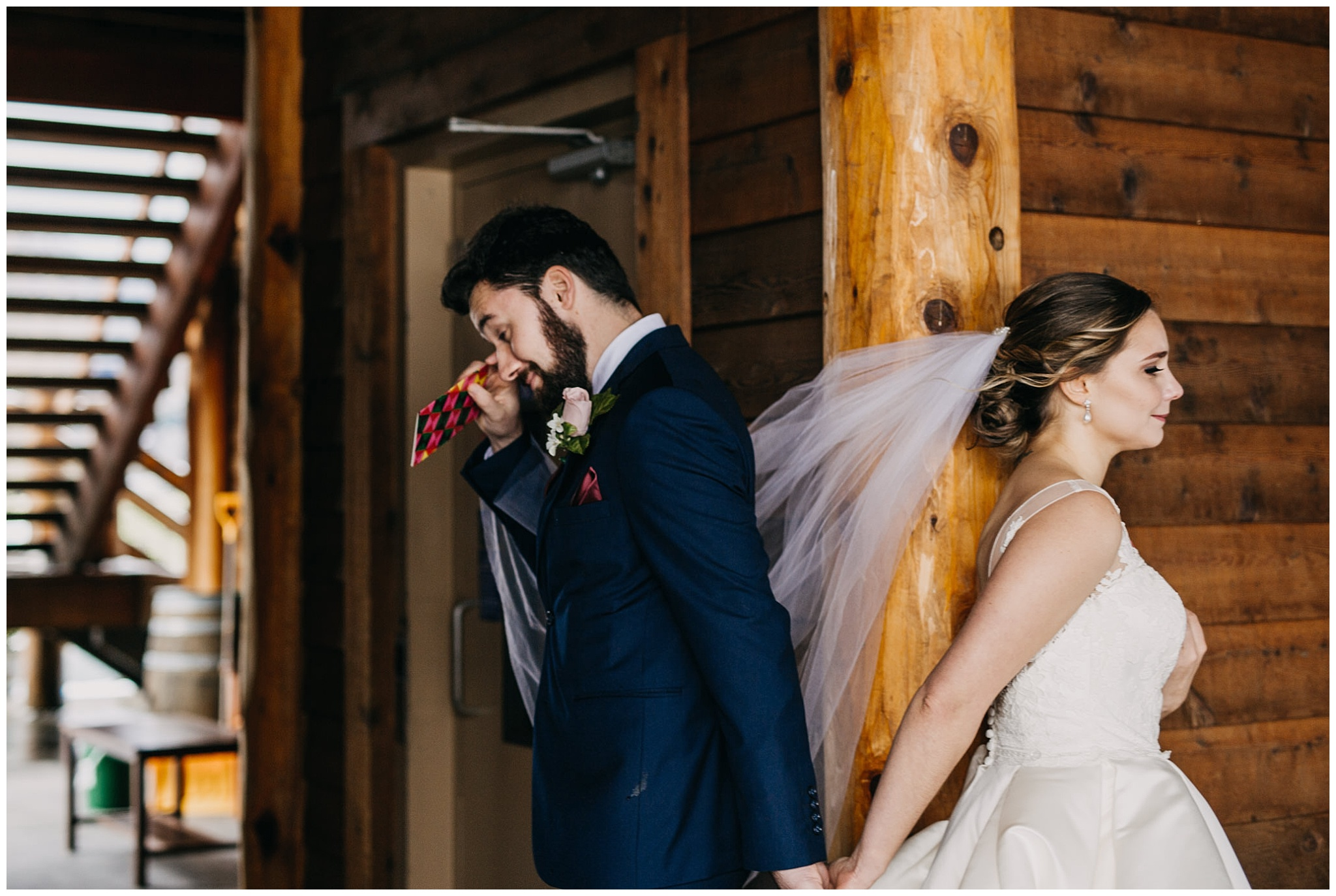 groom crying first look reaction at fraser river lodge wedding