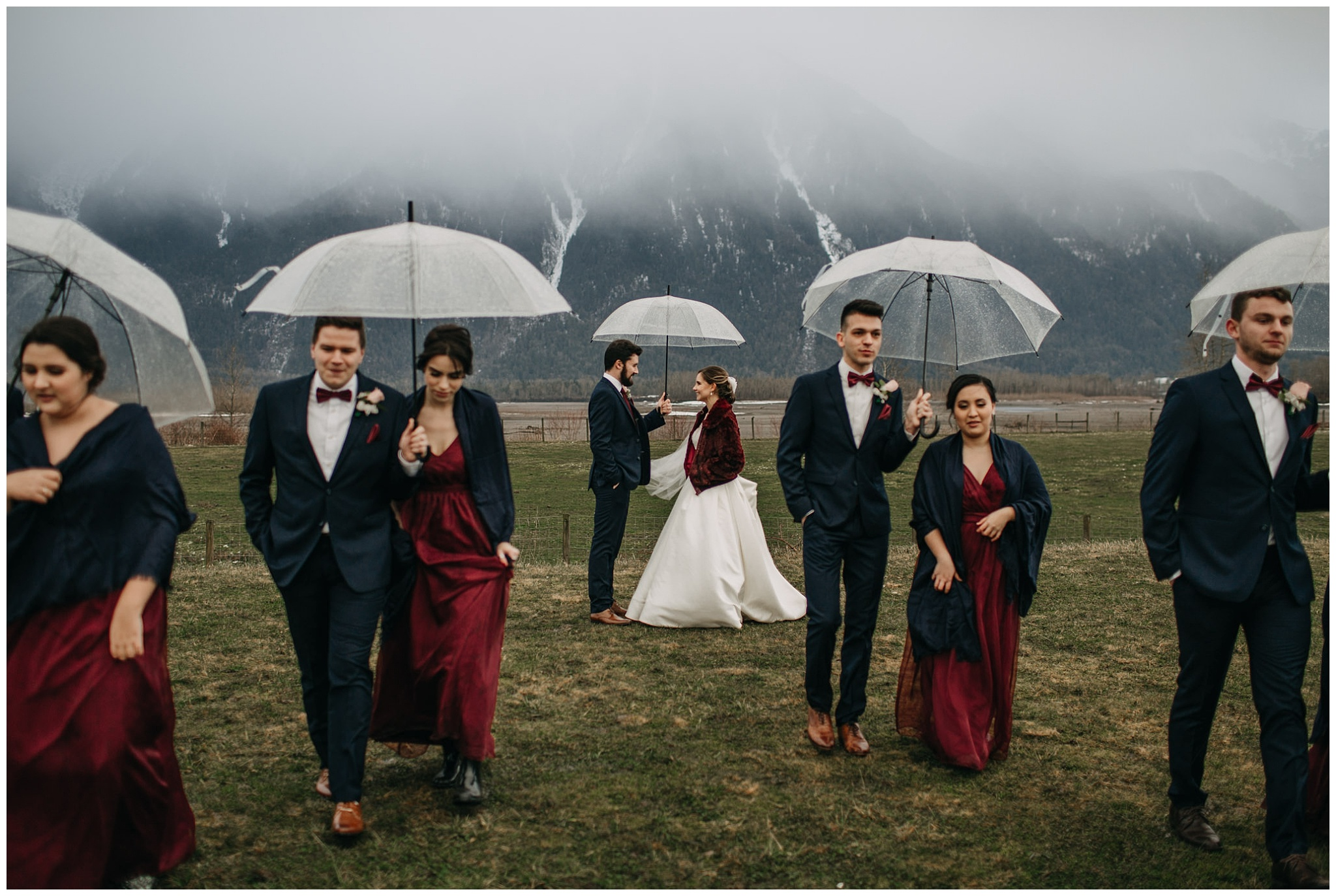 wedding party portrait at fraser river lodge wedding mount cheam