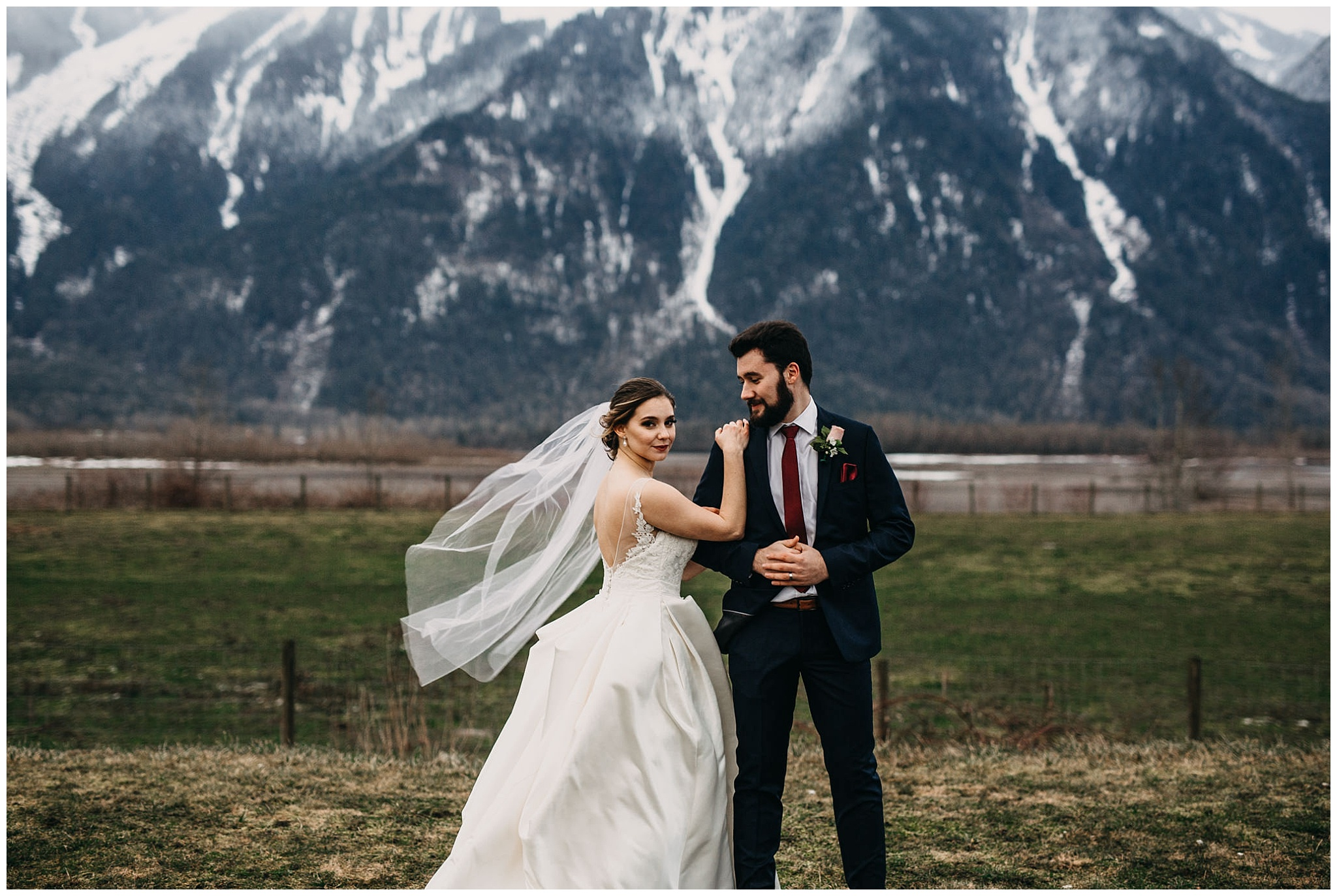 bride and groom portrait at fraser river lodge wedding in front of mount cheam