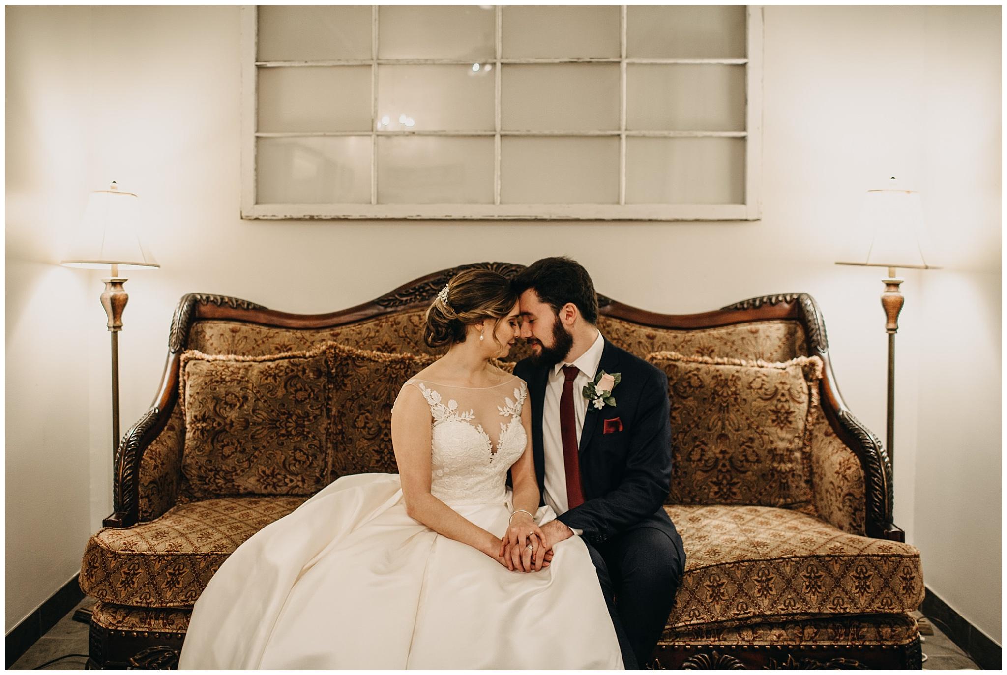 bride and groom portrait in bridal suite at fraser river lodge wedding