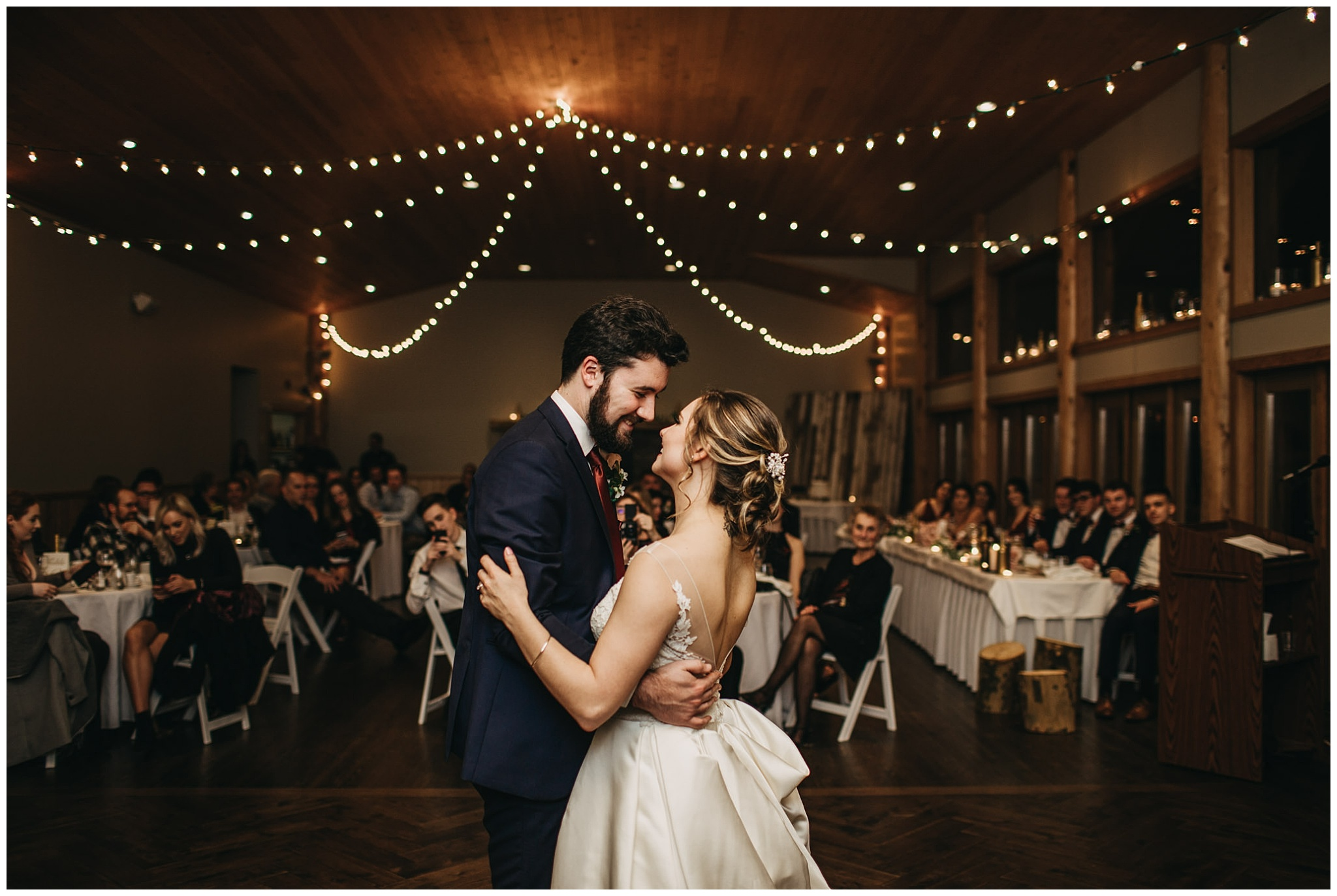 bride and groom first dance at fraser river lodge wedding