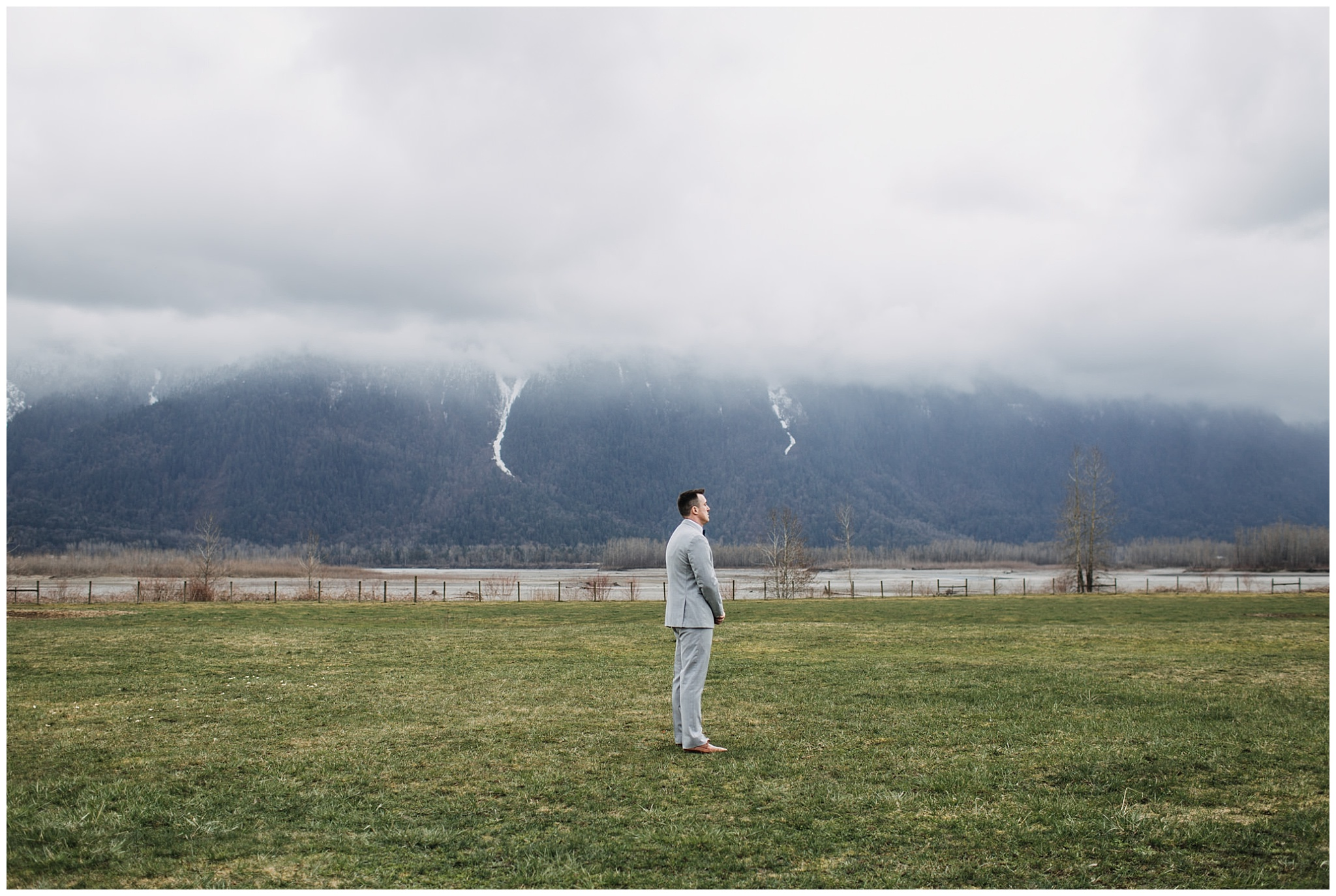 groom waiting for bride at first look at fraser river lodge wedding