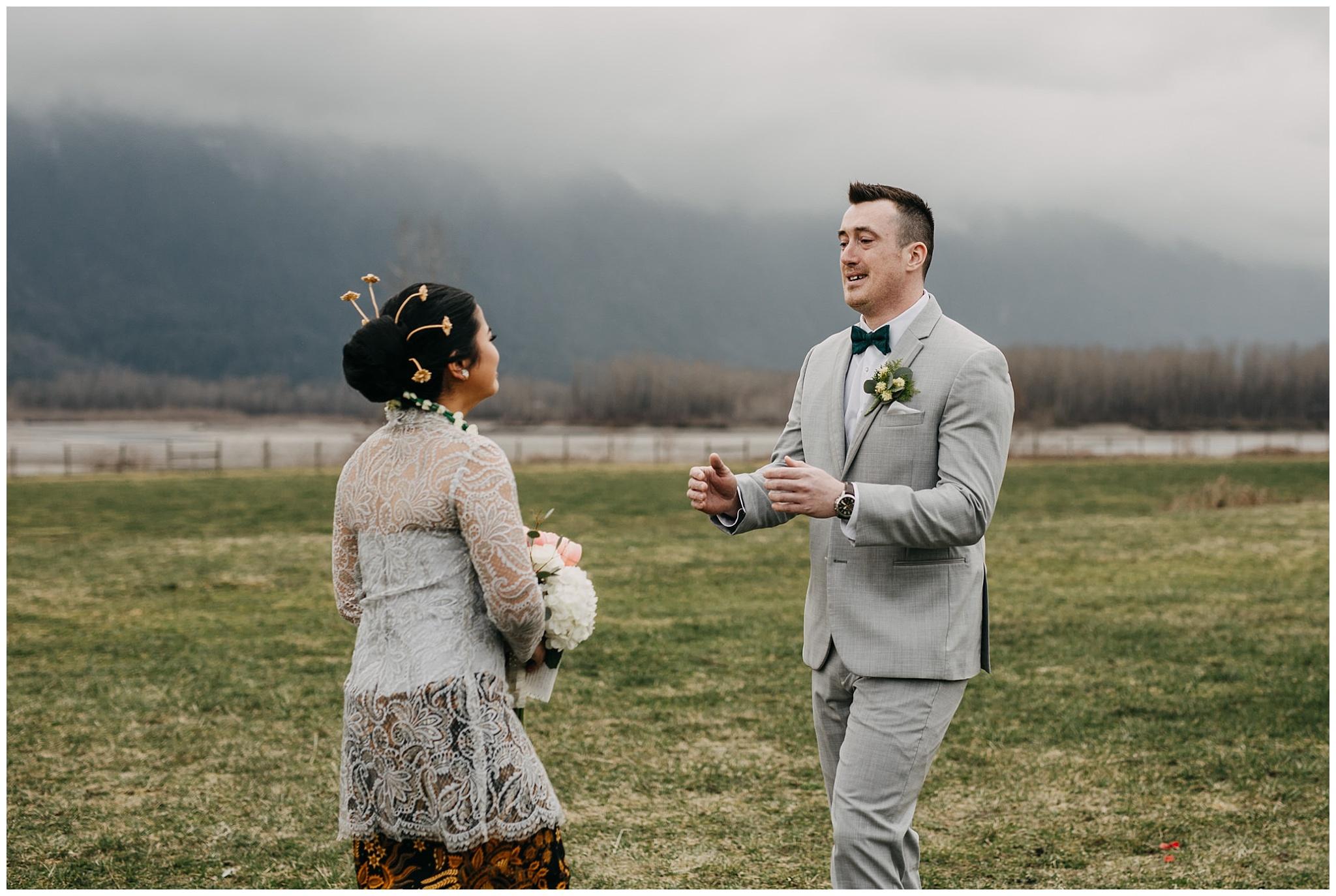 emotional groom first look reaction at fraser river lodge wedding