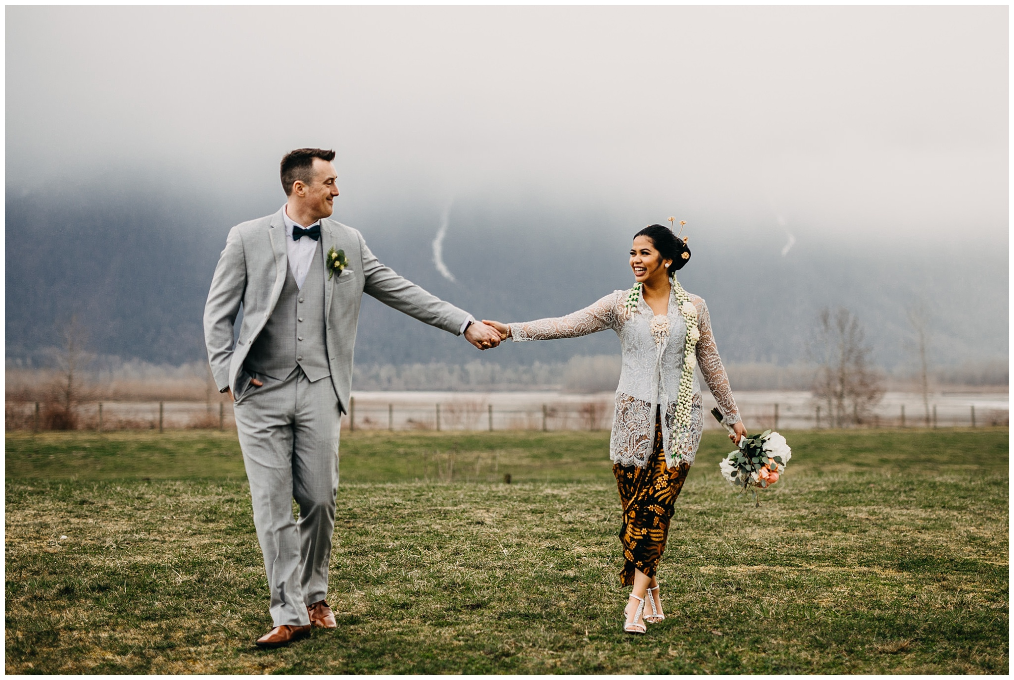 bride and groom portrait at fraser river lodge wedding with mount cheam