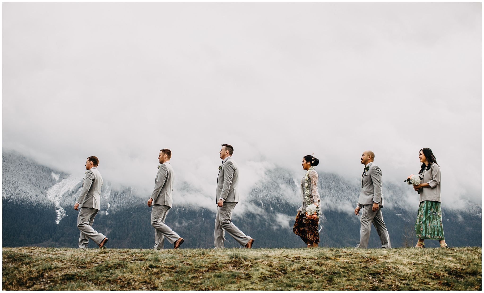 wedding party portrait at fraser river lodge wedding with mount cheam