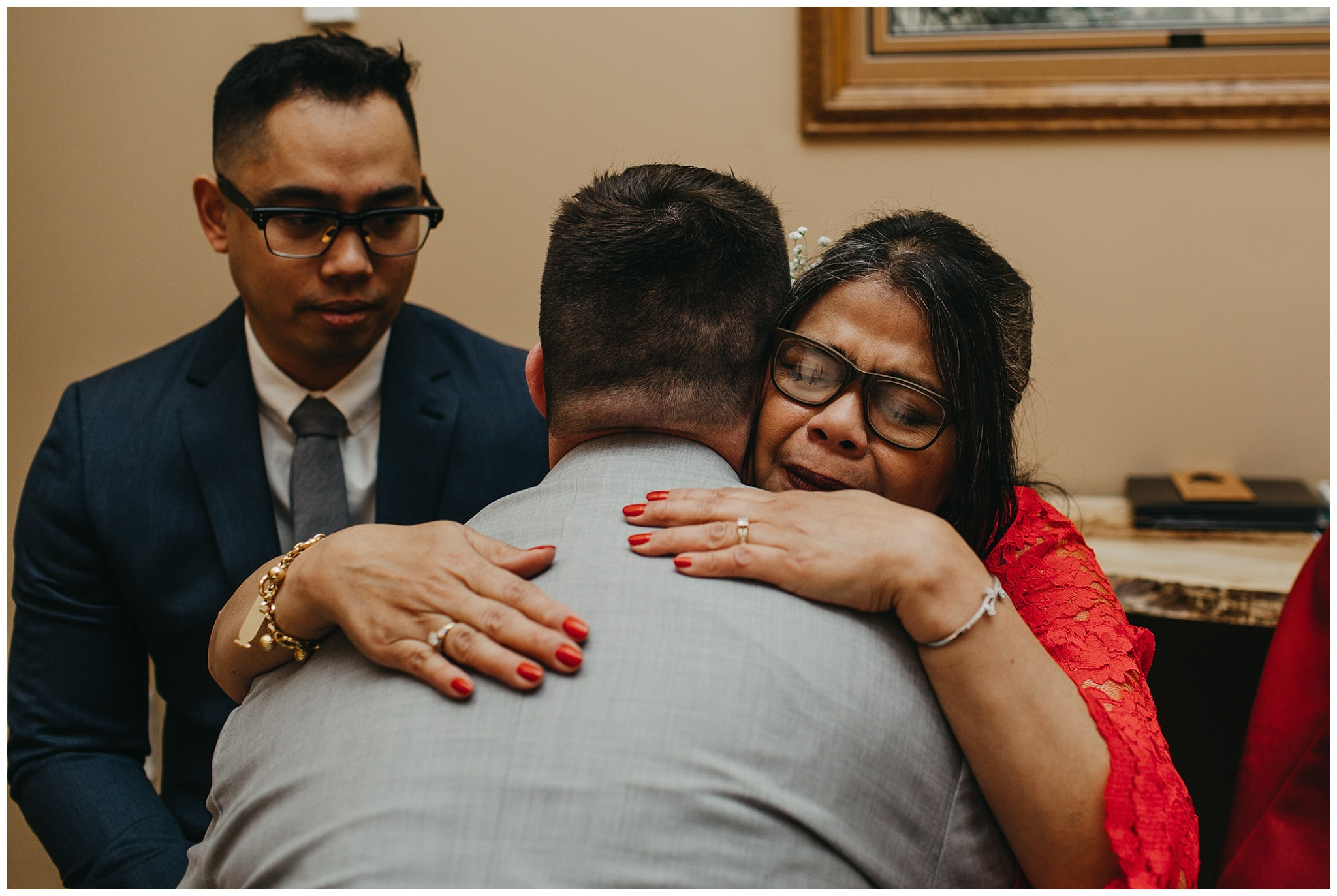 mother of bride crying at fraser river lodge wedding