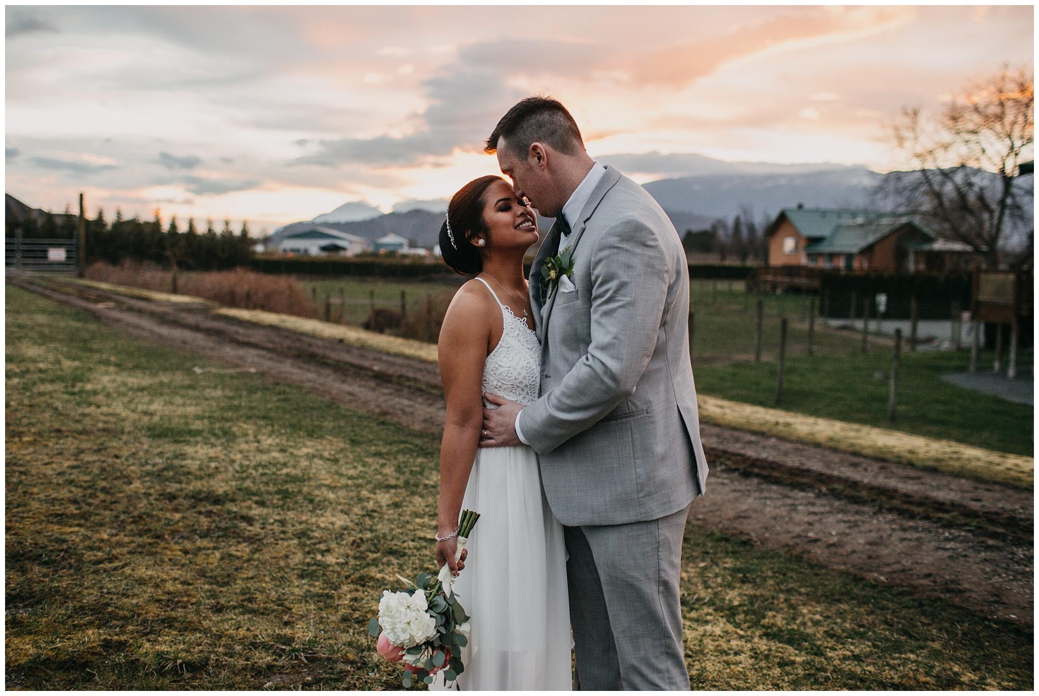 bride and groom sunset portrait at fraser river lodge wedding
