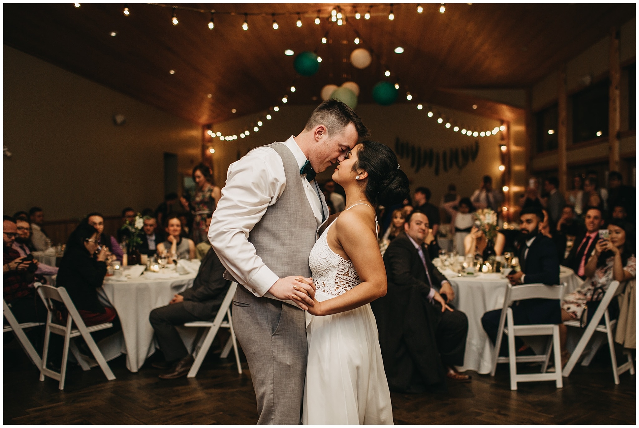 bride and groom first dance at fraser river lodge wedding reception