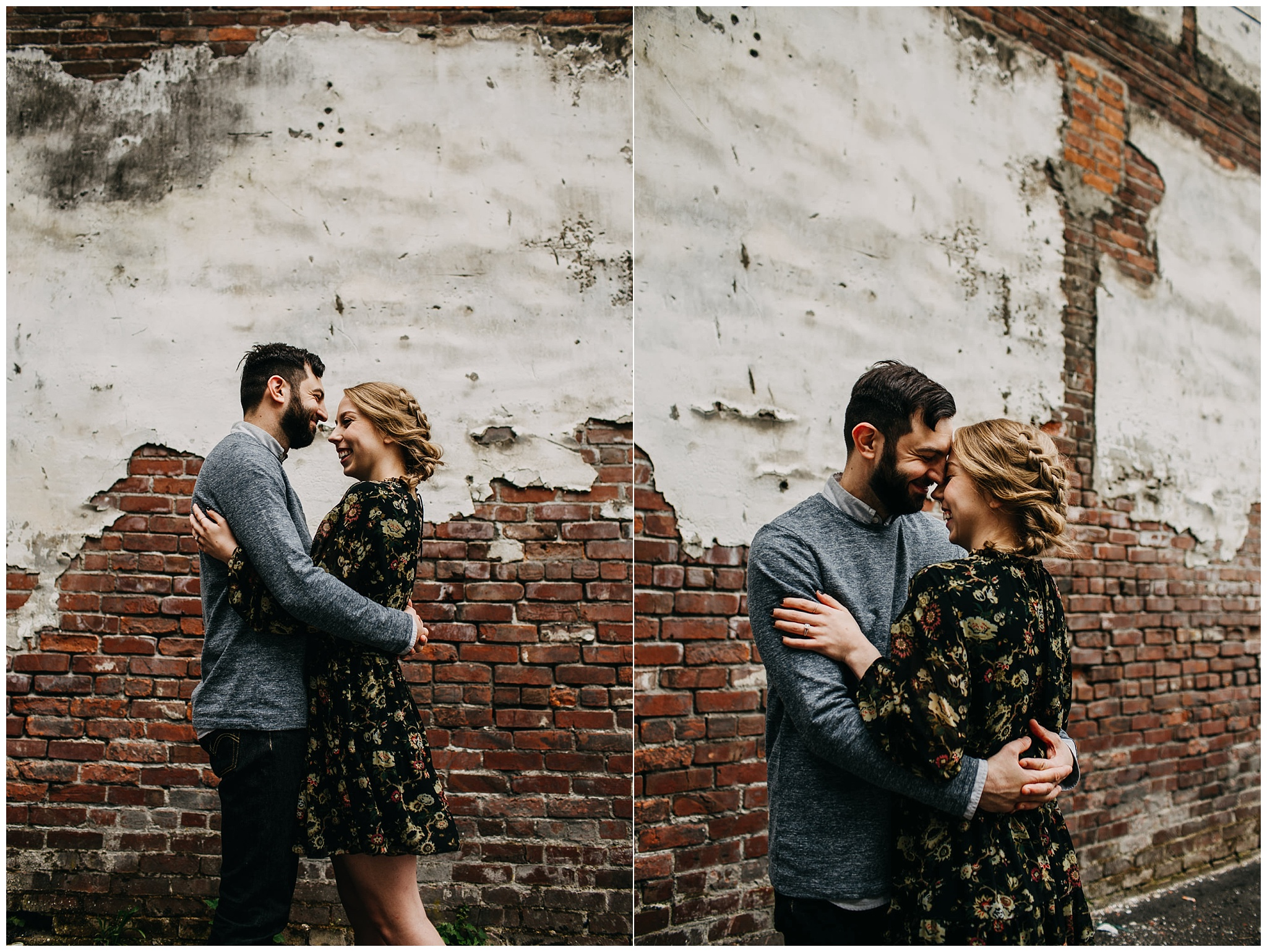couple photo in front of brick wall at downtown new west engagement session