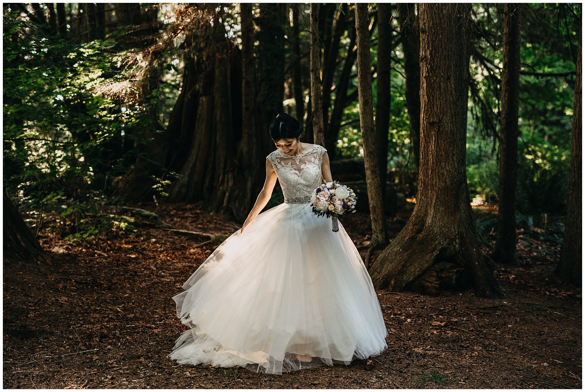 bride portrait in the forest at stanley park teahouse wedding