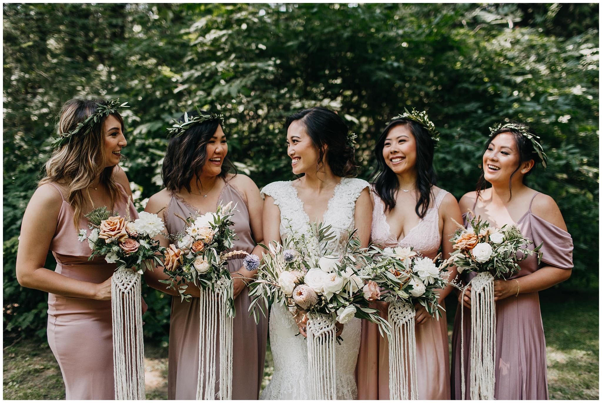 bride and bridesmaids portrait at krause berry farm wedding