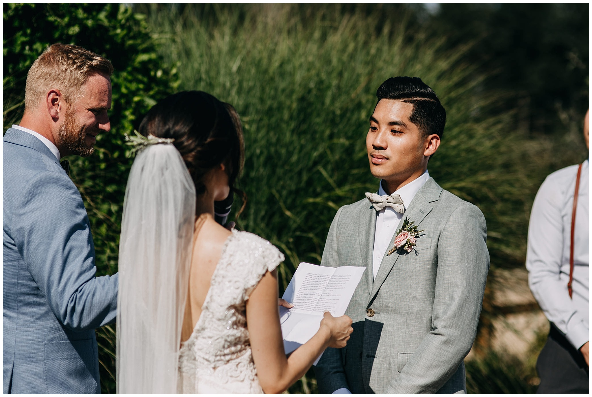 groom crying at ceremony at krause berry farm wedding