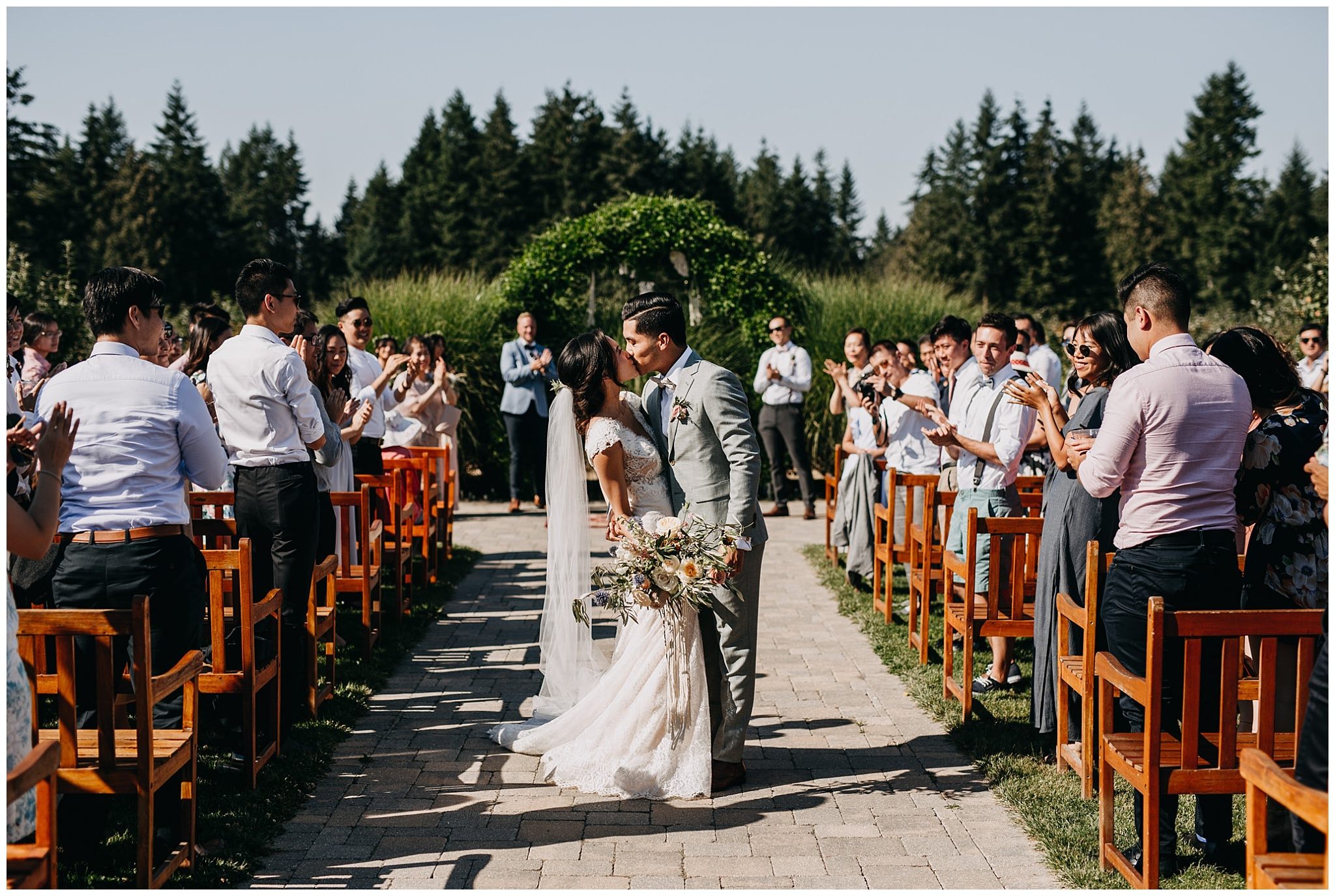 bride and groom ceremony exit at krause berry farm wedding