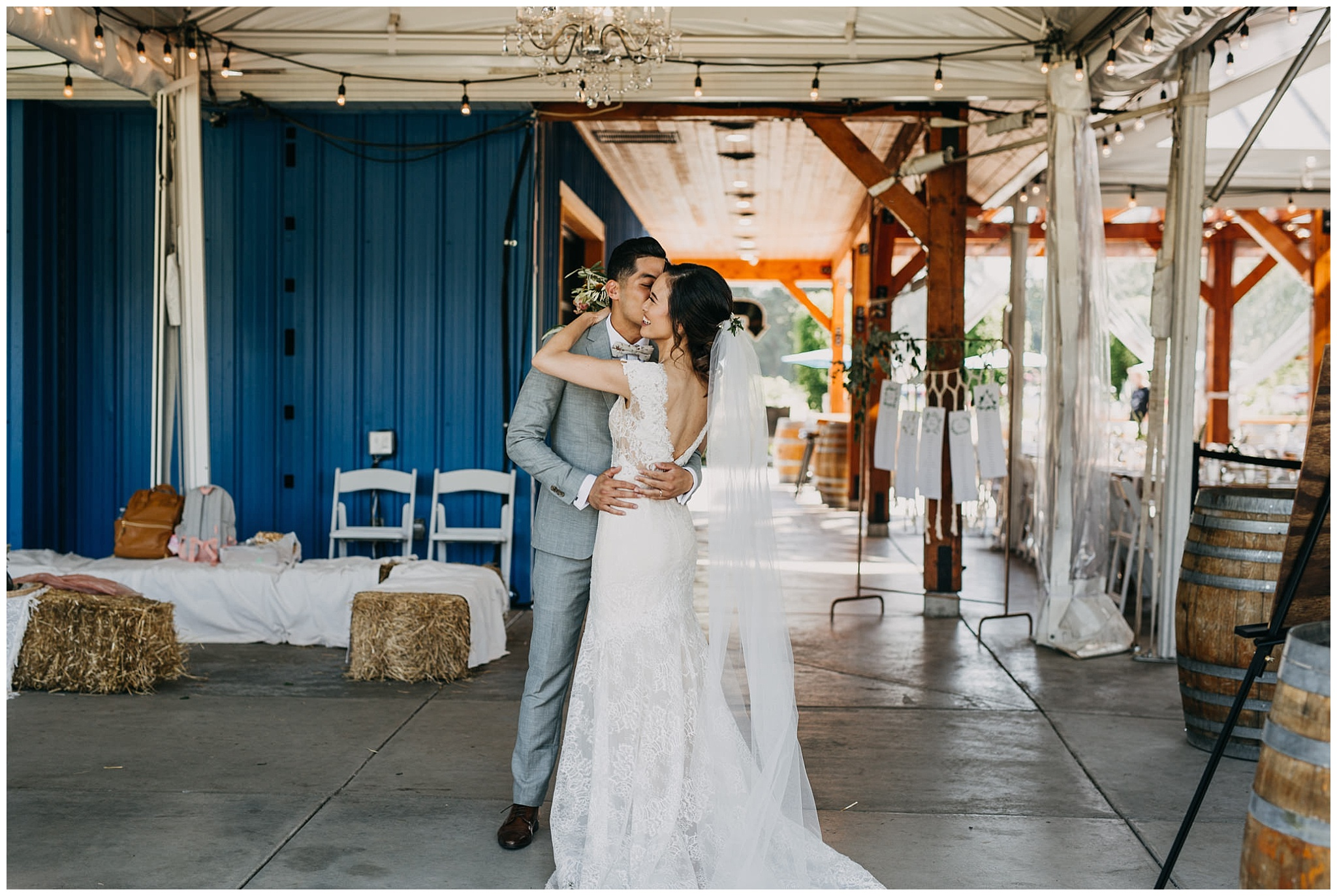 bride and groom post ceremony at krause berry farm wedding