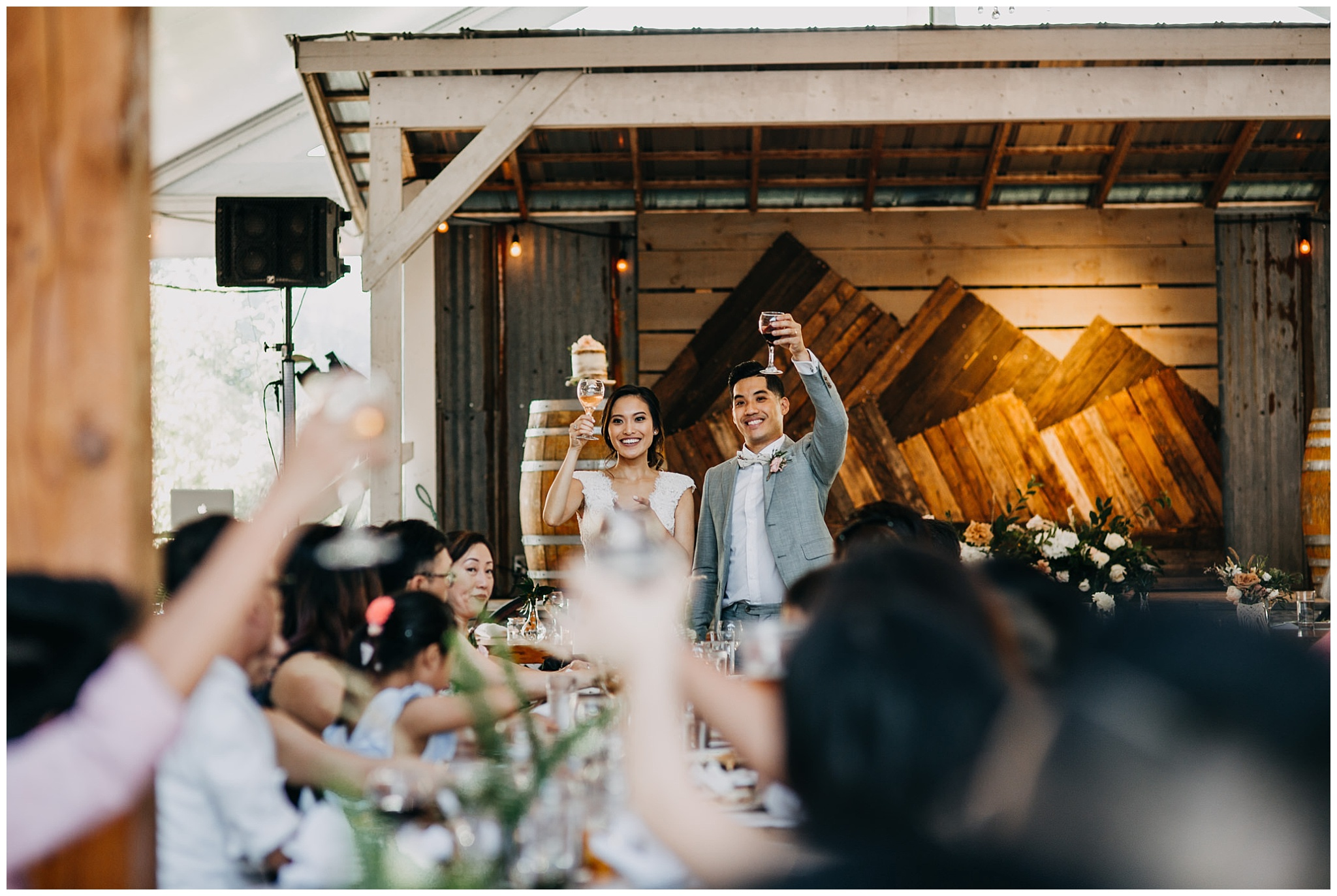bride and groom reception toast at krause berry farm