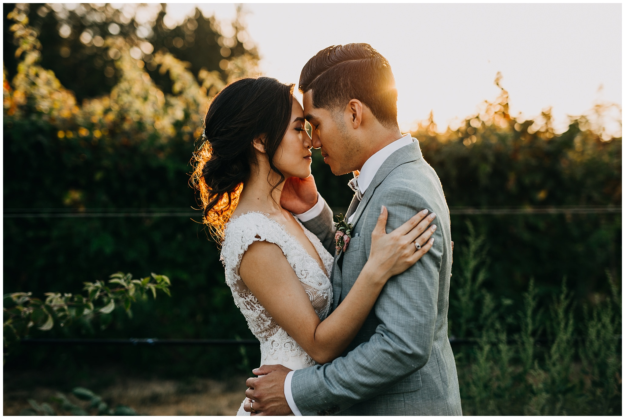 bride and groom golden hour sunset portrait at krause berry farm wedding